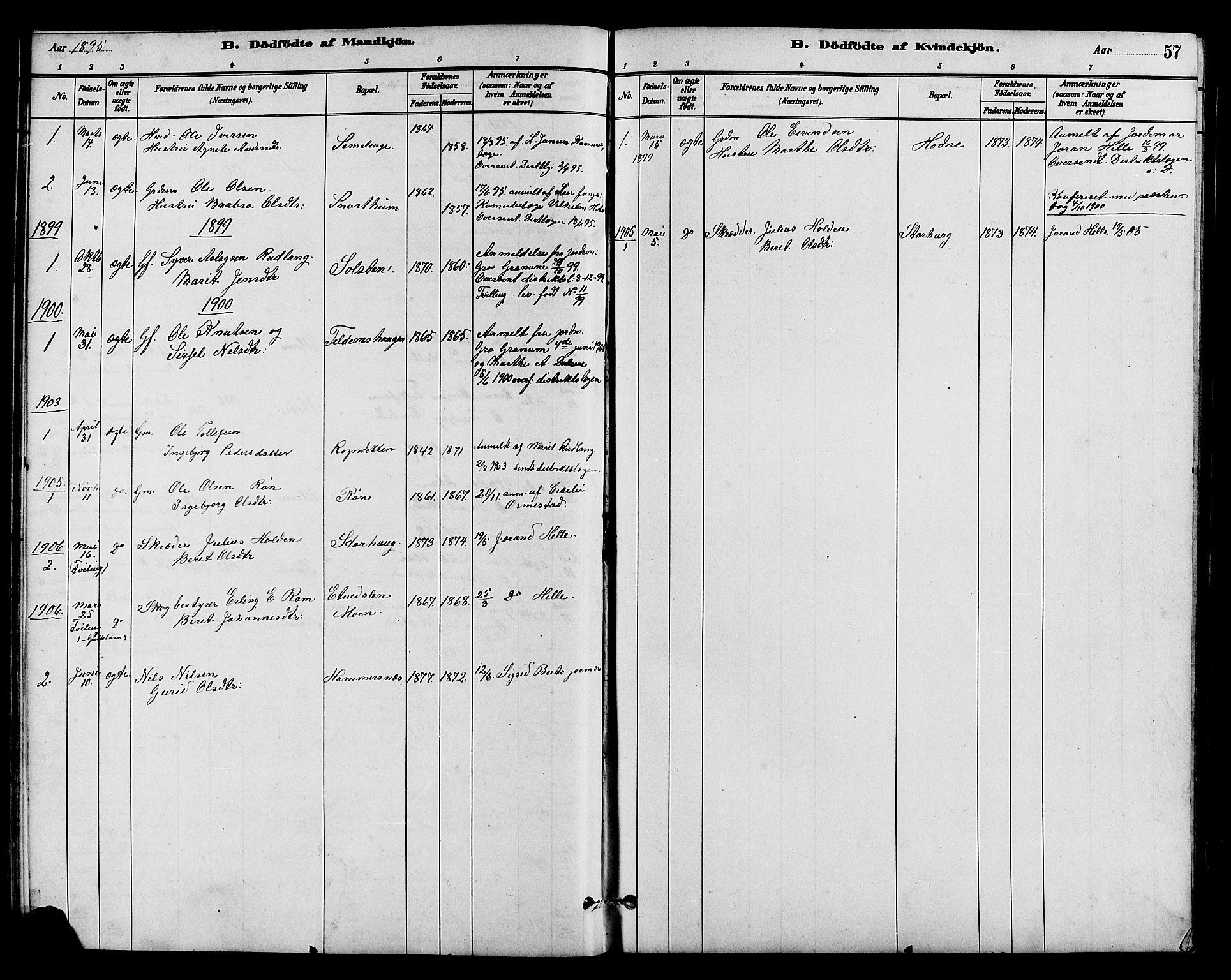 SAH, Vestre Slidre prestekontor, Klokkerbok nr. 5, 1881-1913, s. 57
