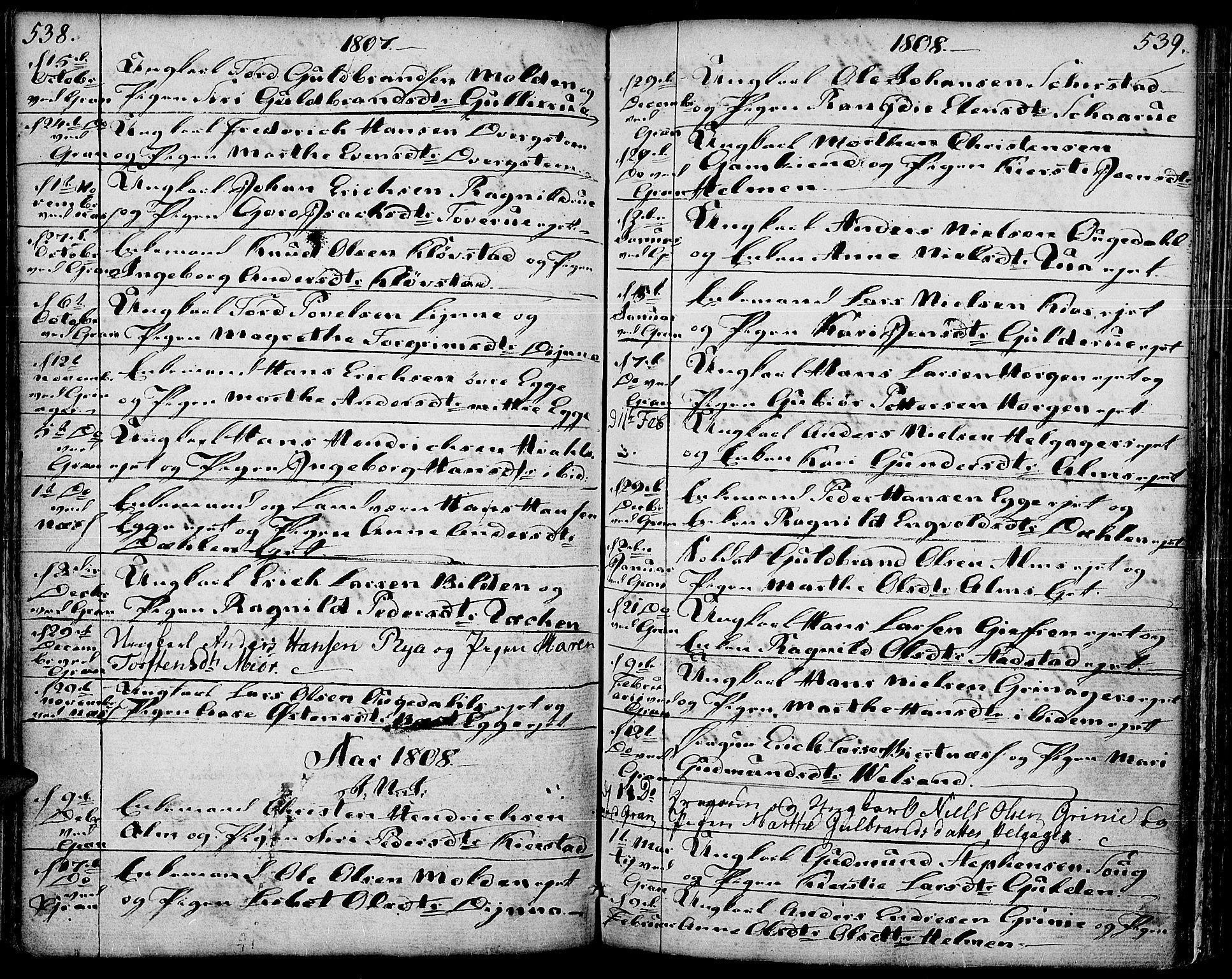 SAH, Gran prestekontor, Ministerialbok nr. 6, 1787-1824, s. 538-539