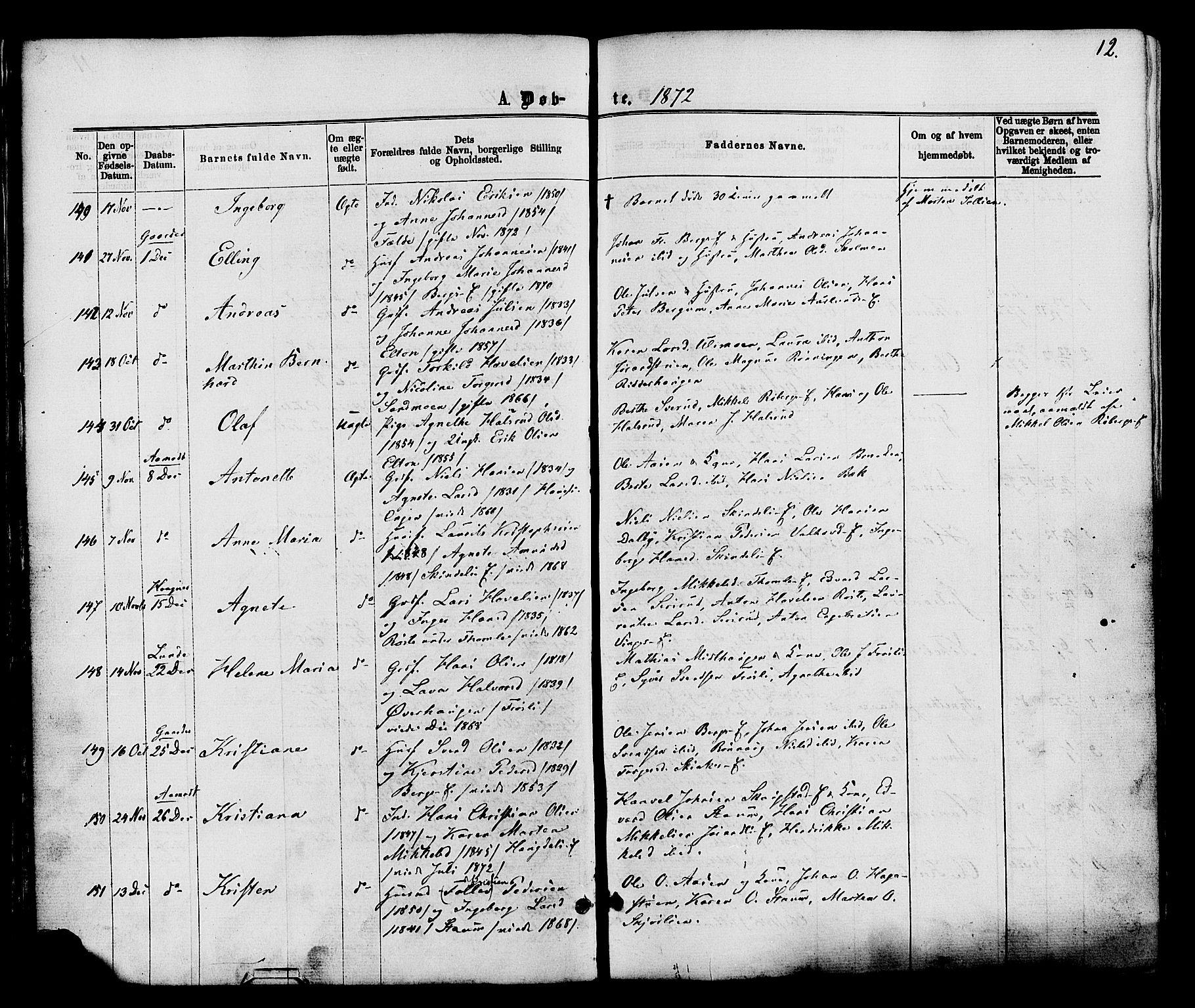SAH, Nordre Land prestekontor, Ministerialbok nr. 2, 1872-1881, s. 12