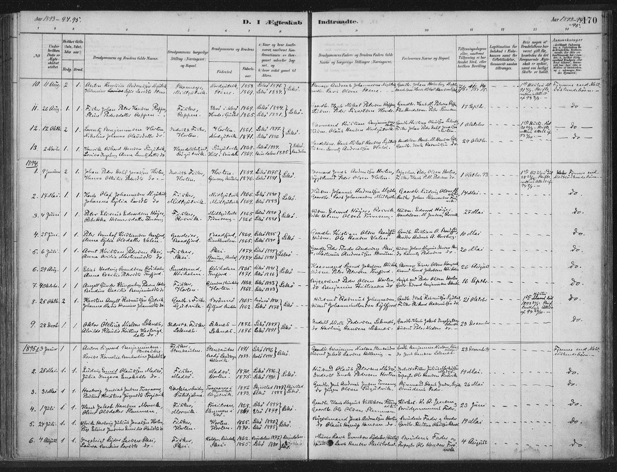 SAT, Ministerialprotokoller, klokkerbøker og fødselsregistre - Nord-Trøndelag, 788/L0697: Ministerialbok nr. 788A04, 1878-1902, s. 170