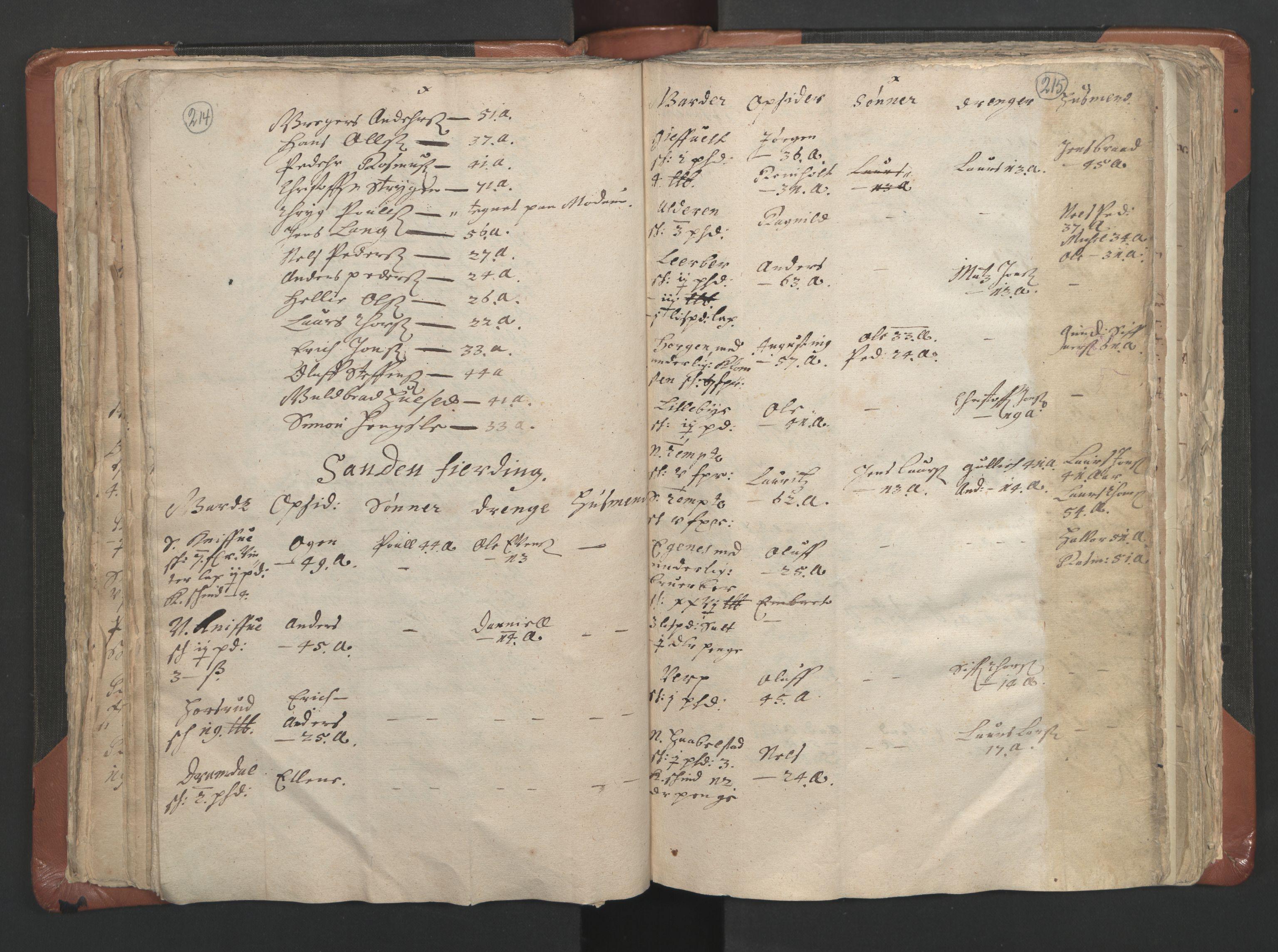 RA, Sogneprestenes manntall 1664-1666, nr. 9: Bragernes prosti, 1664-1666, s. 214-215