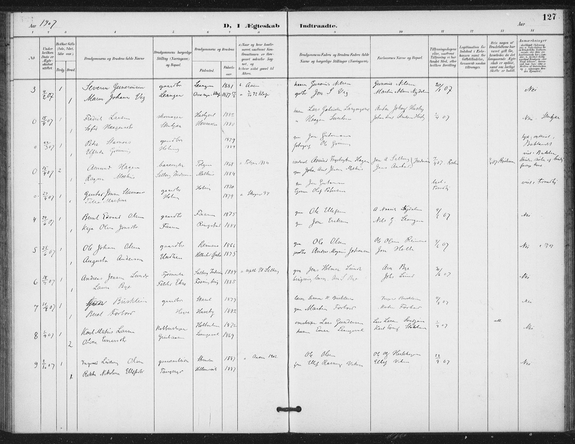SAT, Ministerialprotokoller, klokkerbøker og fødselsregistre - Nord-Trøndelag, 714/L0131: Ministerialbok nr. 714A02, 1896-1918, s. 127