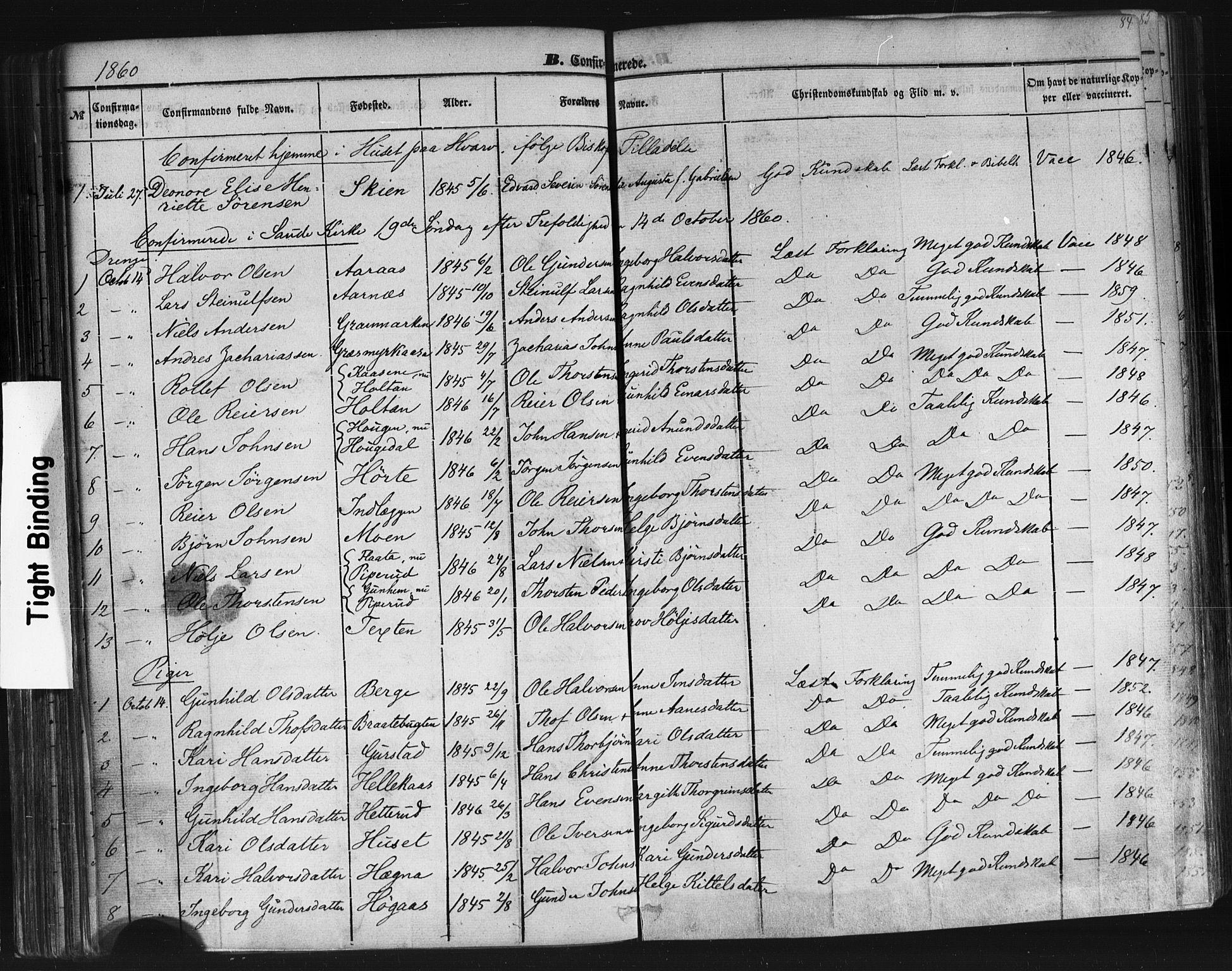 SAKO, Sauherad kirkebøker, F/Fb/L0001: Ministerialbok nr. II 1, 1851-1877, s. 84