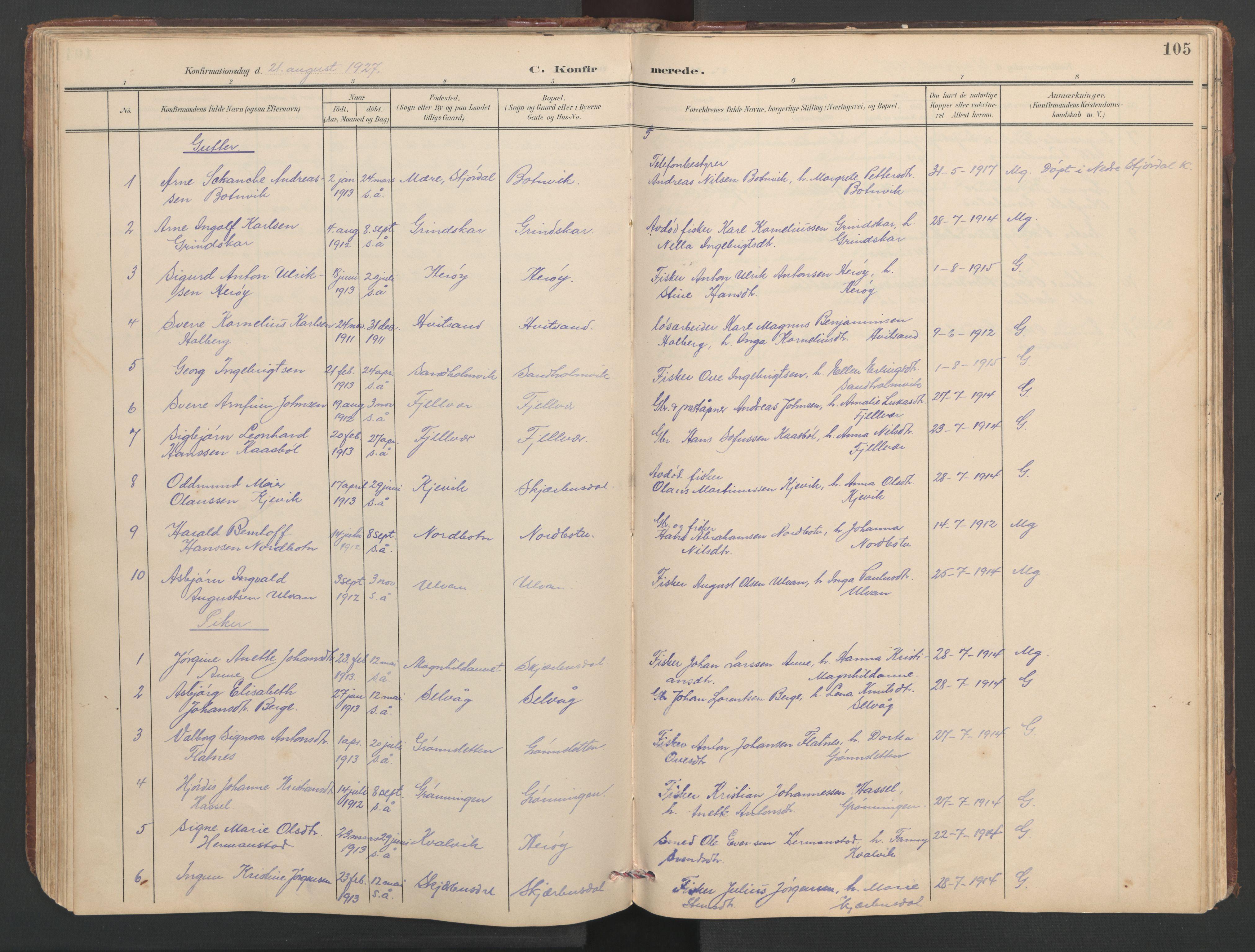 SAT, Ministerialprotokoller, klokkerbøker og fødselsregistre - Sør-Trøndelag, 638/L0571: Klokkerbok nr. 638C03, 1901-1930, s. 105