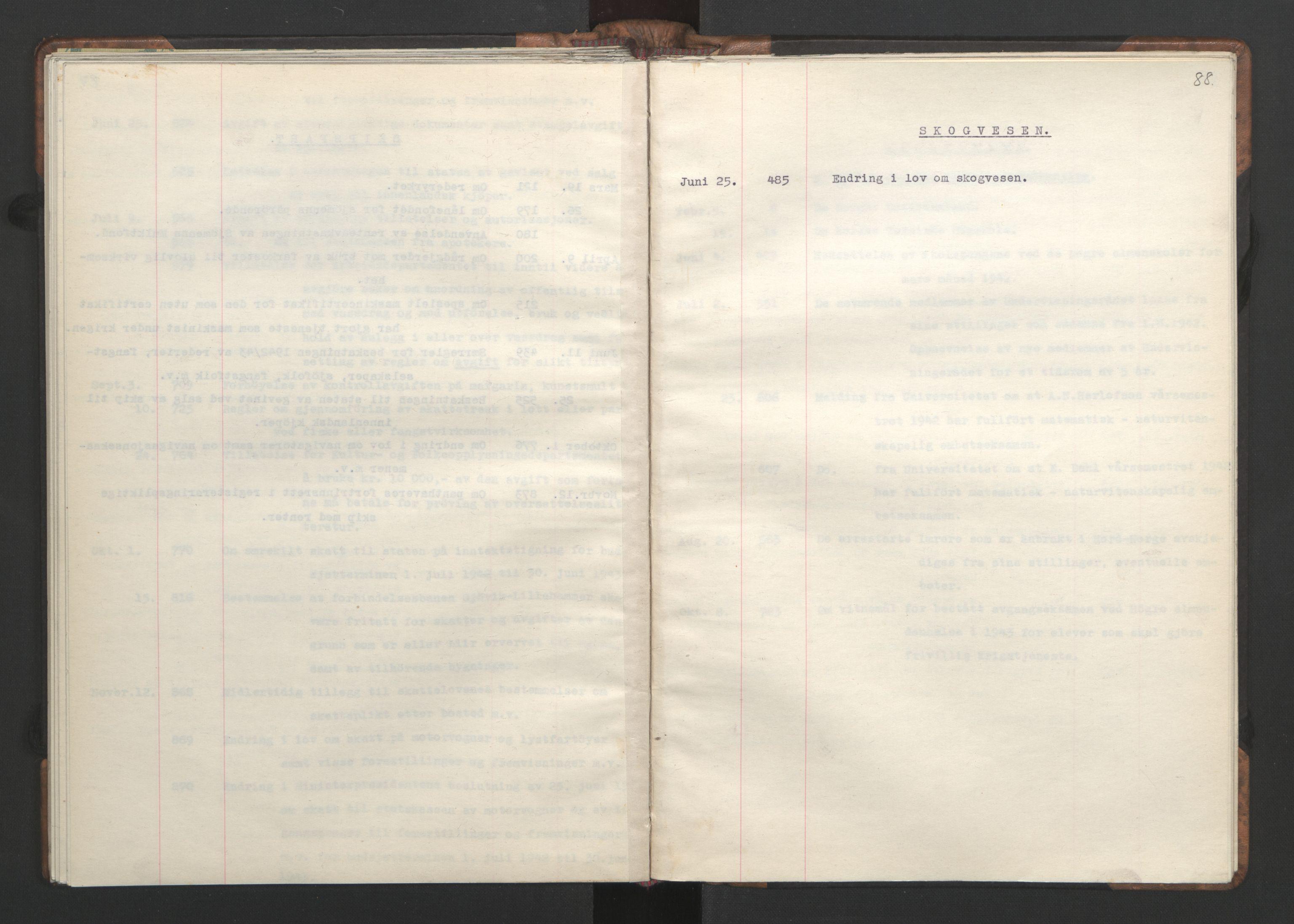 RA, NS-administrasjonen 1940-1945 (Statsrådsekretariatet, de kommisariske statsråder mm), D/Da/L0002: Register (RA j.nr. 985/1943, tilgangsnr. 17/1943), 1942, s. 87b-88a