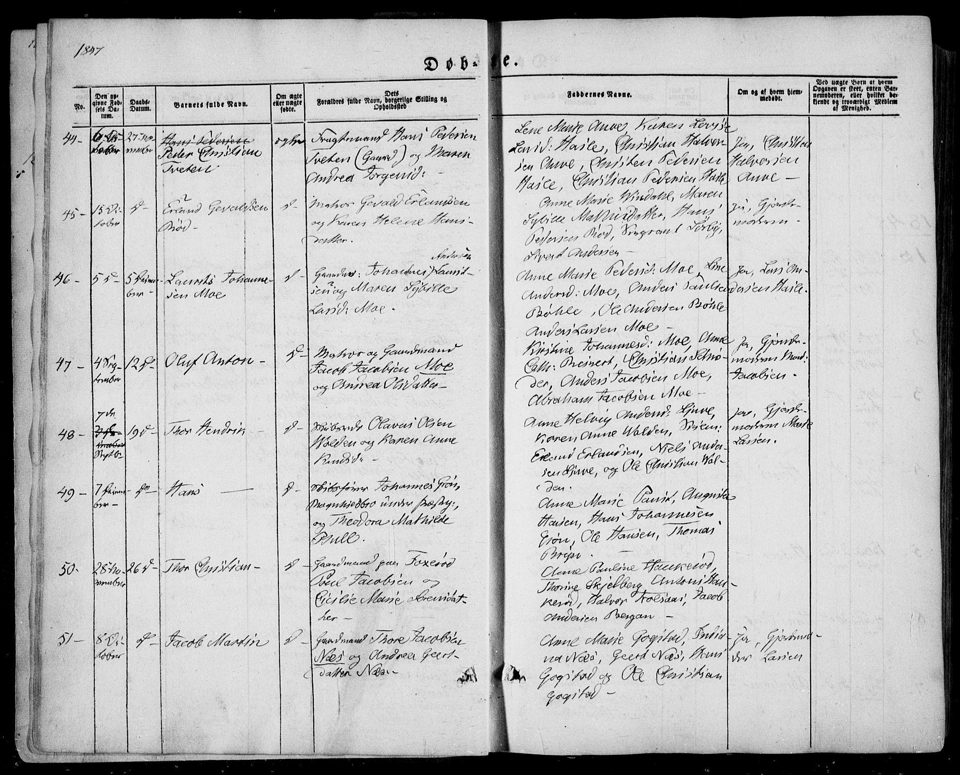 SAKO, Sandar kirkebøker, F/Fa/L0006: Ministerialbok nr. 6, 1847-1860, s. 5b