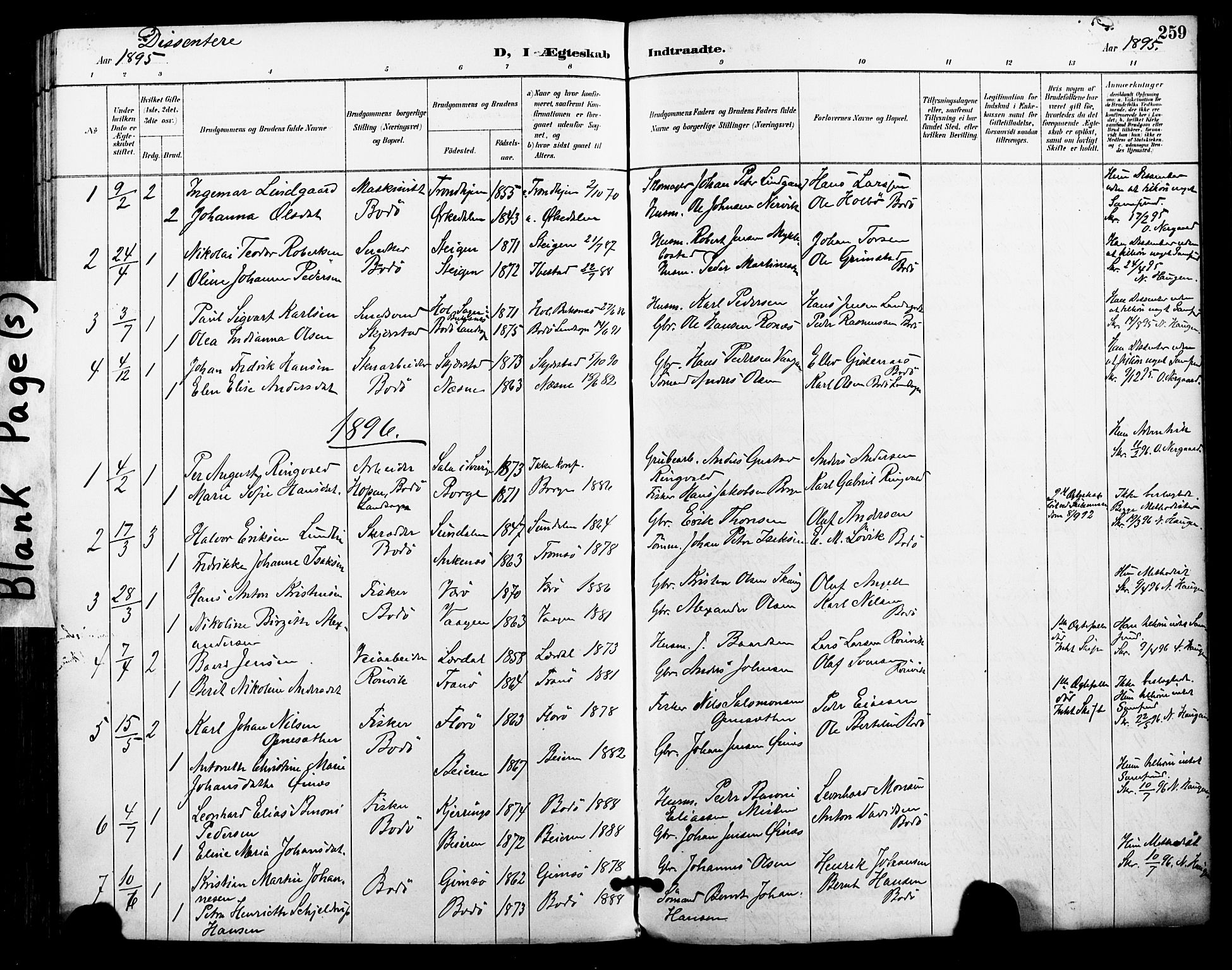 SAT, Ministerialprotokoller, klokkerbøker og fødselsregistre - Nordland, 801/L0010: Ministerialbok nr. 801A10, 1888-1899, s. 259