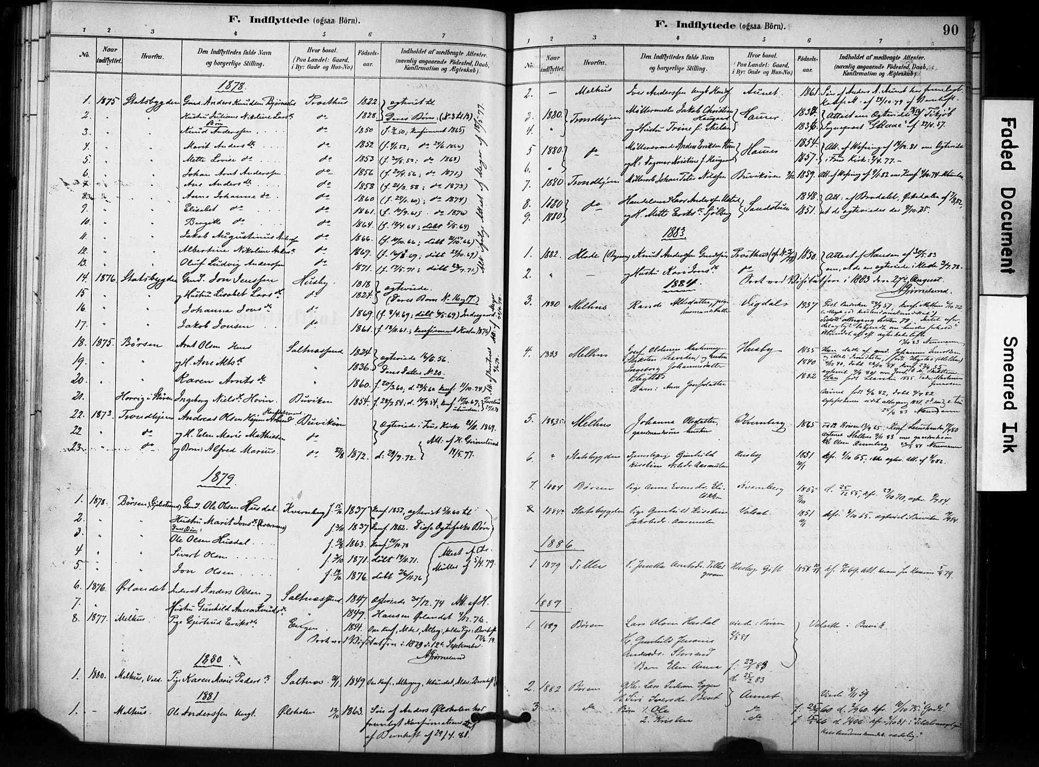 SAT, Ministerialprotokoller, klokkerbøker og fødselsregistre - Sør-Trøndelag, 666/L0786: Ministerialbok nr. 666A04, 1878-1895, s. 90