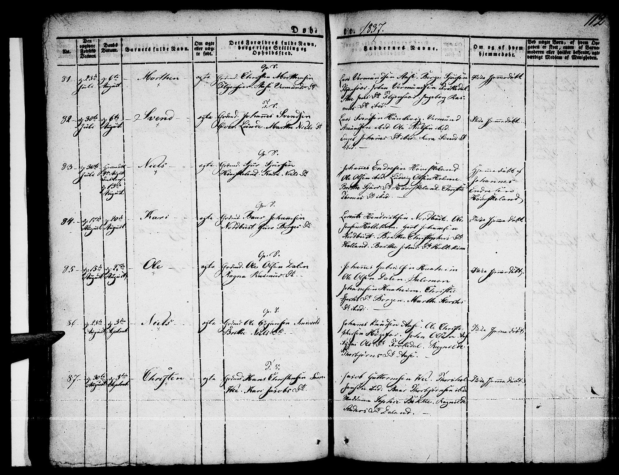 SAB, Tysnes Sokneprestembete, H/Haa: Ministerialbok nr. A 8, 1826-1837, s. 112