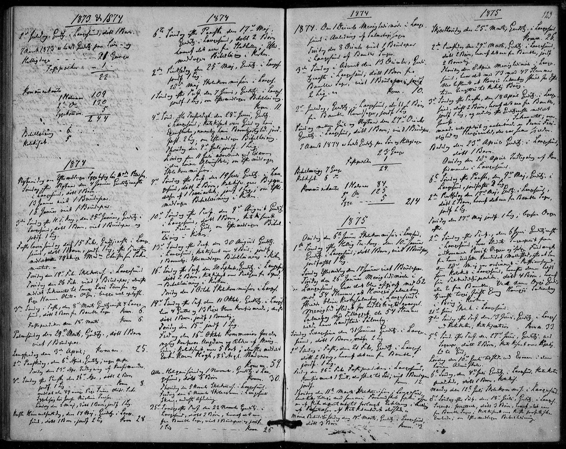 SAKO, Langesund kirkebøker, F/Fa/L0001: Ministerialbok nr. 1, 1870-1877, s. 123