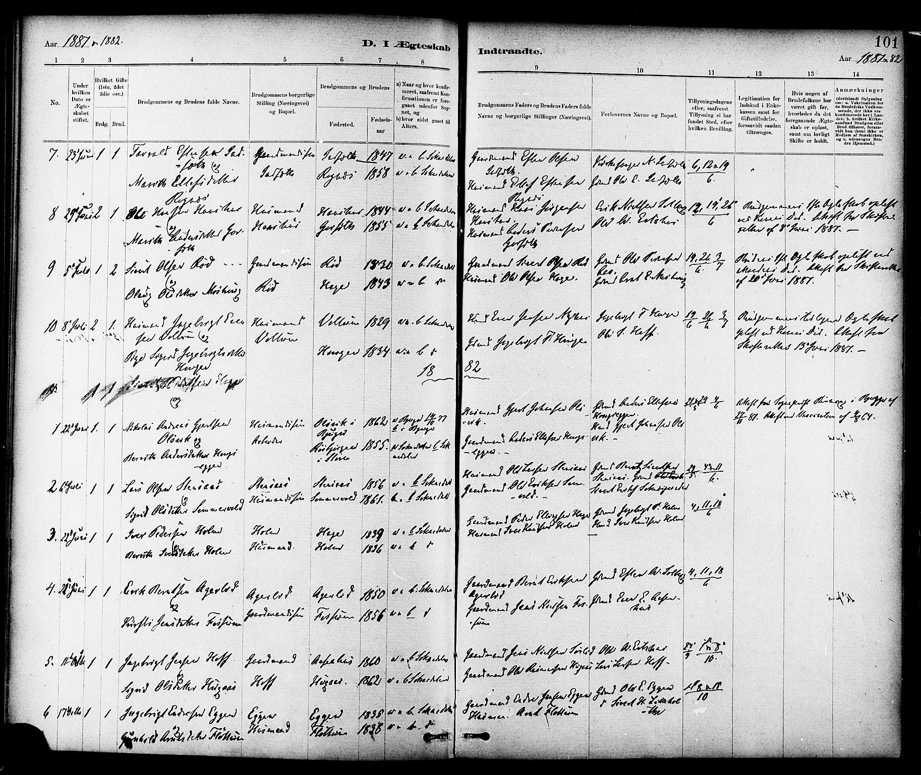SAT, Ministerialprotokoller, klokkerbøker og fødselsregistre - Sør-Trøndelag, 689/L1040: Ministerialbok nr. 689A05, 1878-1890, s. 101