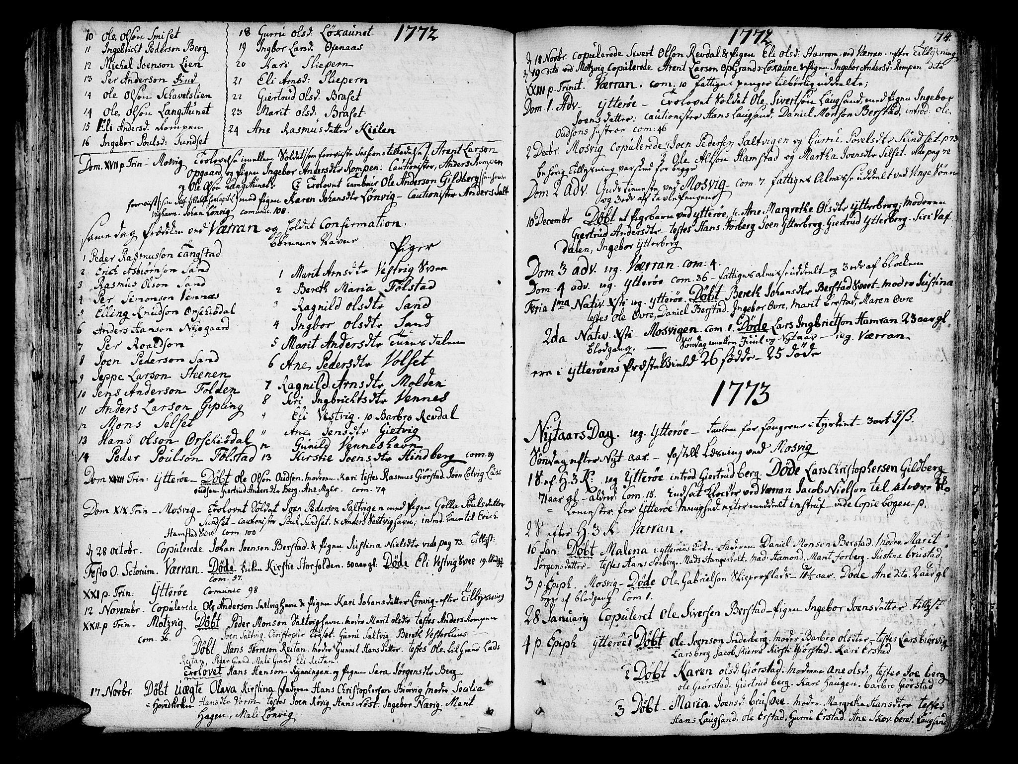 SAT, Ministerialprotokoller, klokkerbøker og fødselsregistre - Nord-Trøndelag, 722/L0216: Ministerialbok nr. 722A03, 1756-1816, s. 74