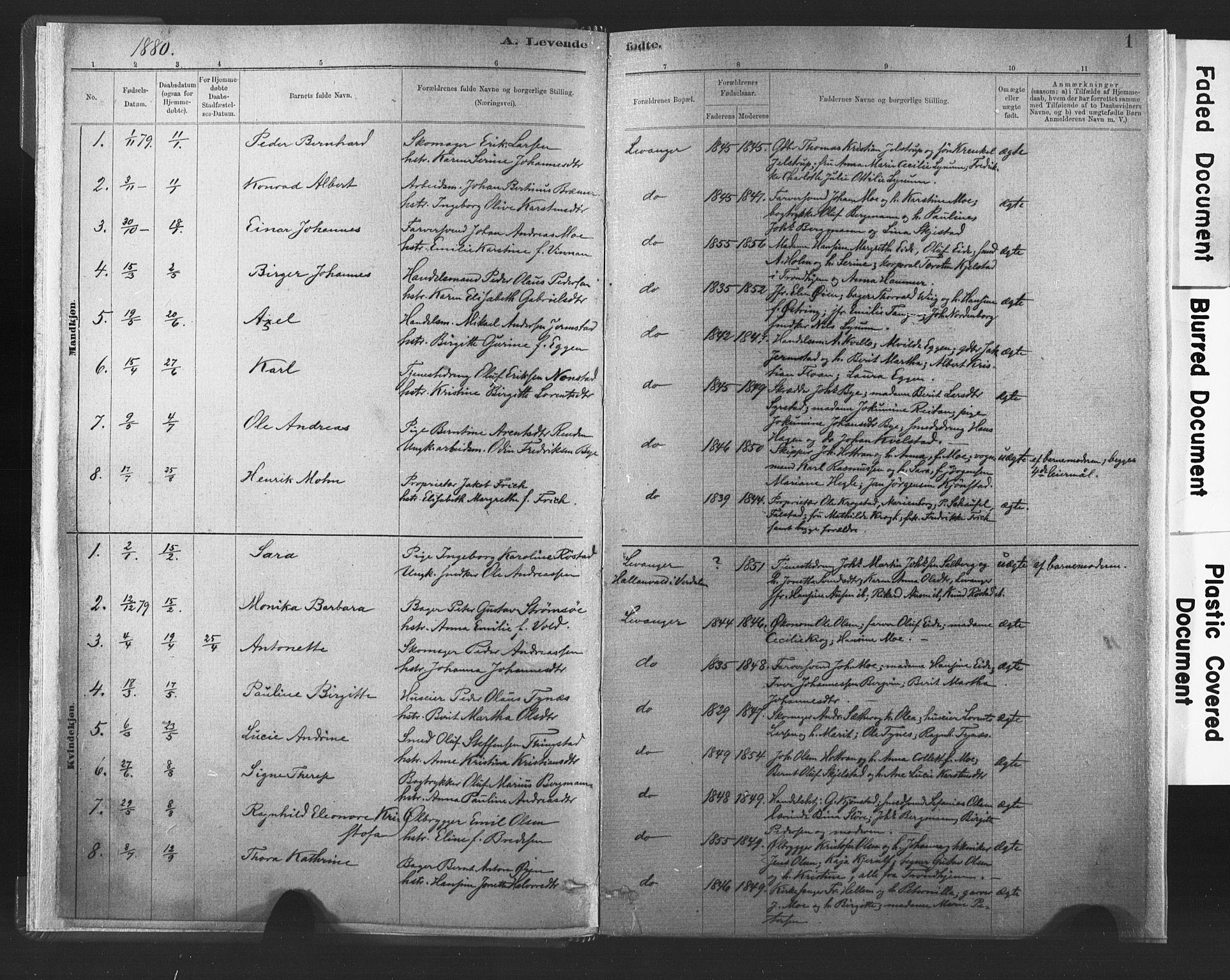 SAT, Ministerialprotokoller, klokkerbøker og fødselsregistre - Nord-Trøndelag, 720/L0189: Ministerialbok nr. 720A05, 1880-1911, s. 1