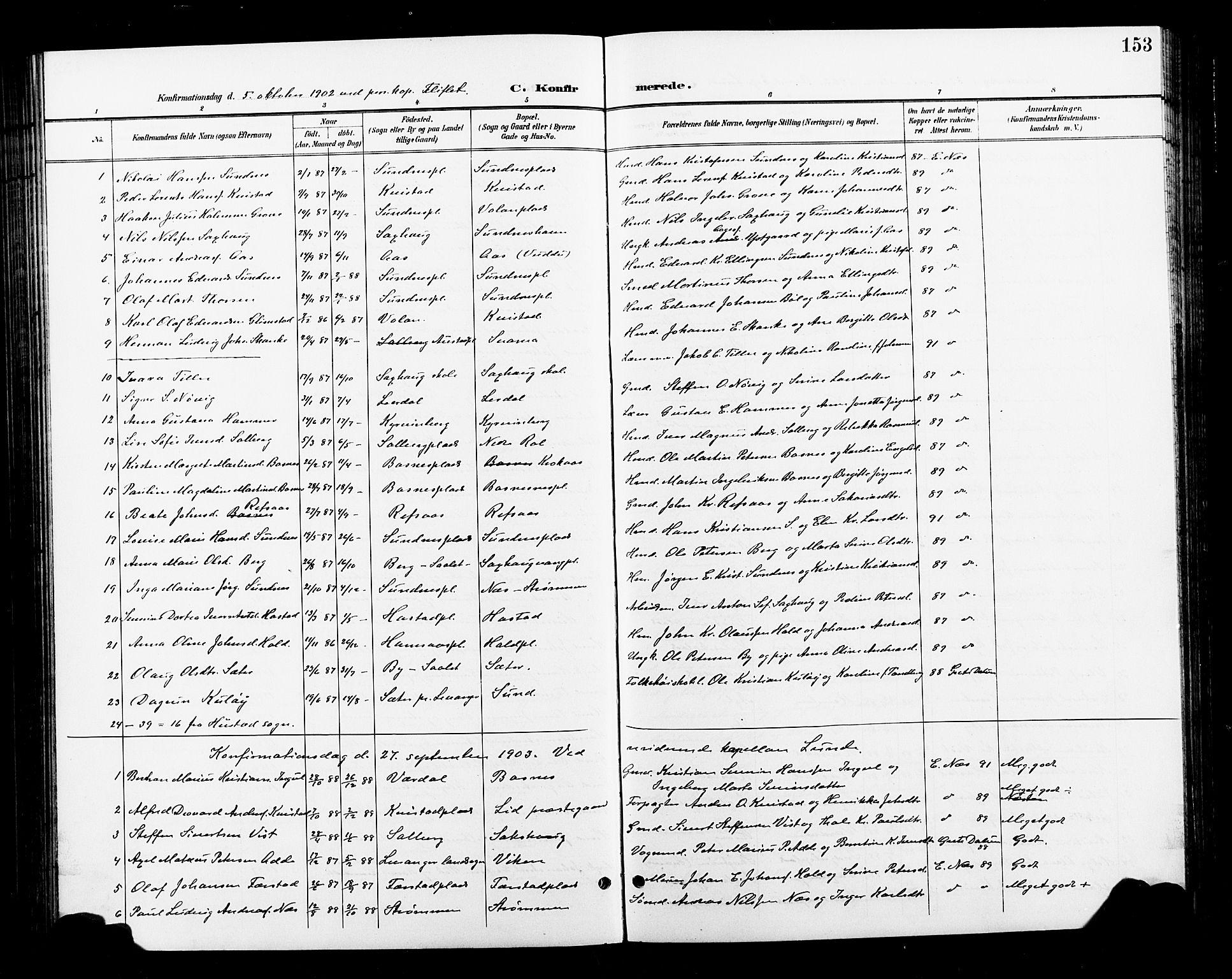 SAT, Ministerialprotokoller, klokkerbøker og fødselsregistre - Nord-Trøndelag, 730/L0302: Klokkerbok nr. 730C05, 1898-1924, s. 153