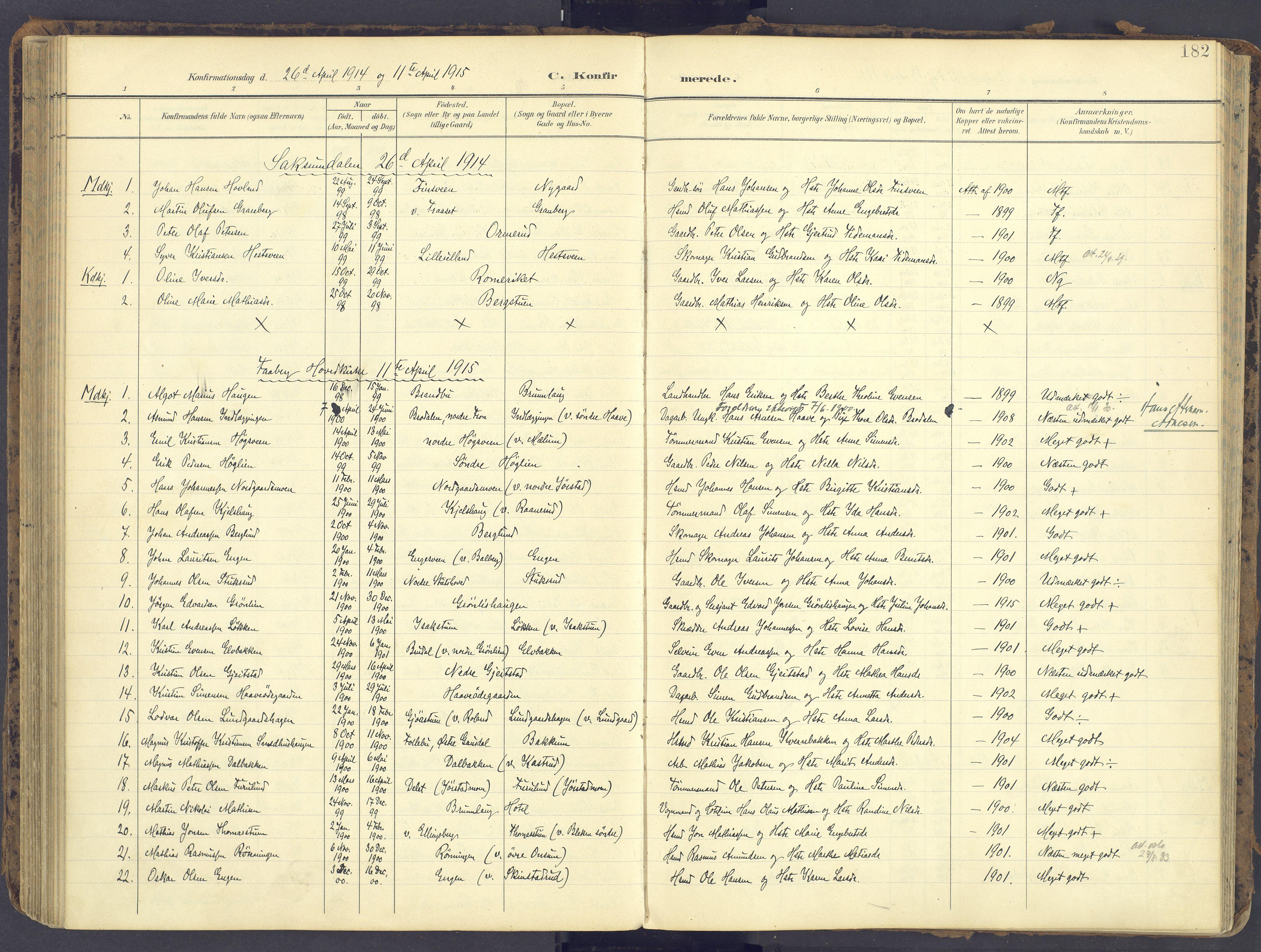 SAH, Fåberg prestekontor, Ministerialbok nr. 12, 1899-1915, s. 182