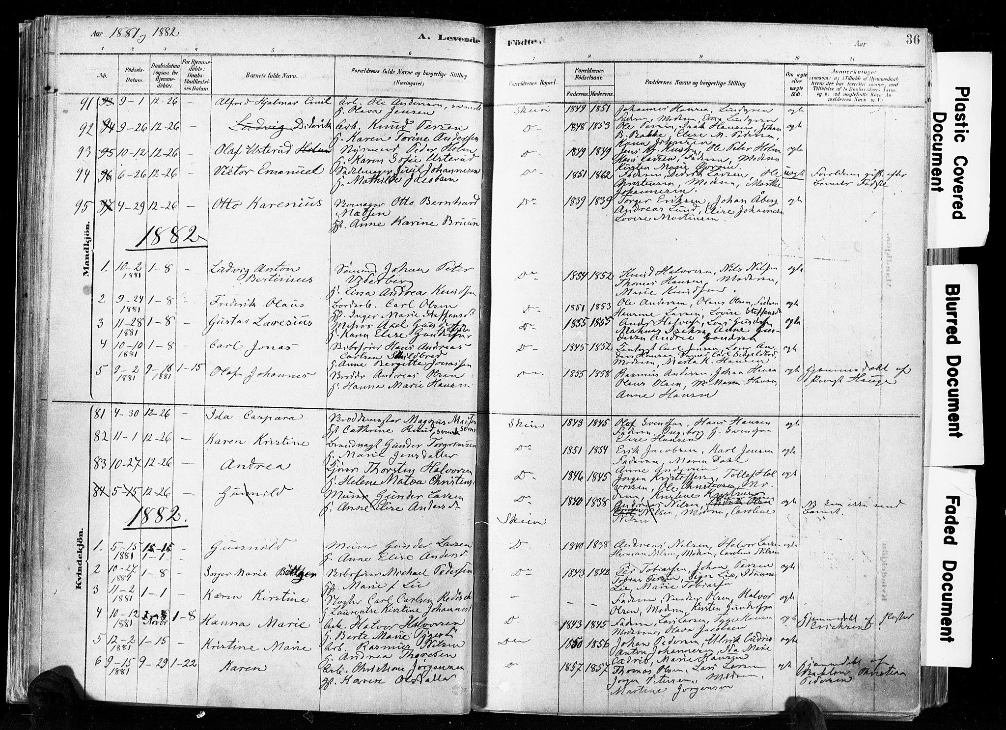 SAKO, Skien kirkebøker, F/Fa/L0009: Ministerialbok nr. 9, 1878-1890, s. 36