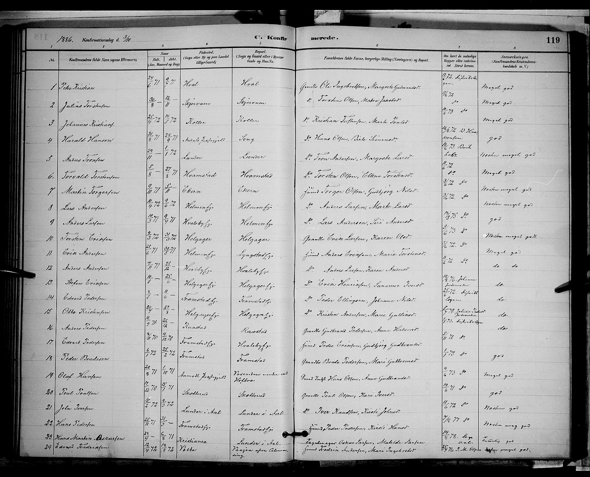 SAH, Gran prestekontor, Klokkerbok nr. 2, 1879-1892, s. 119