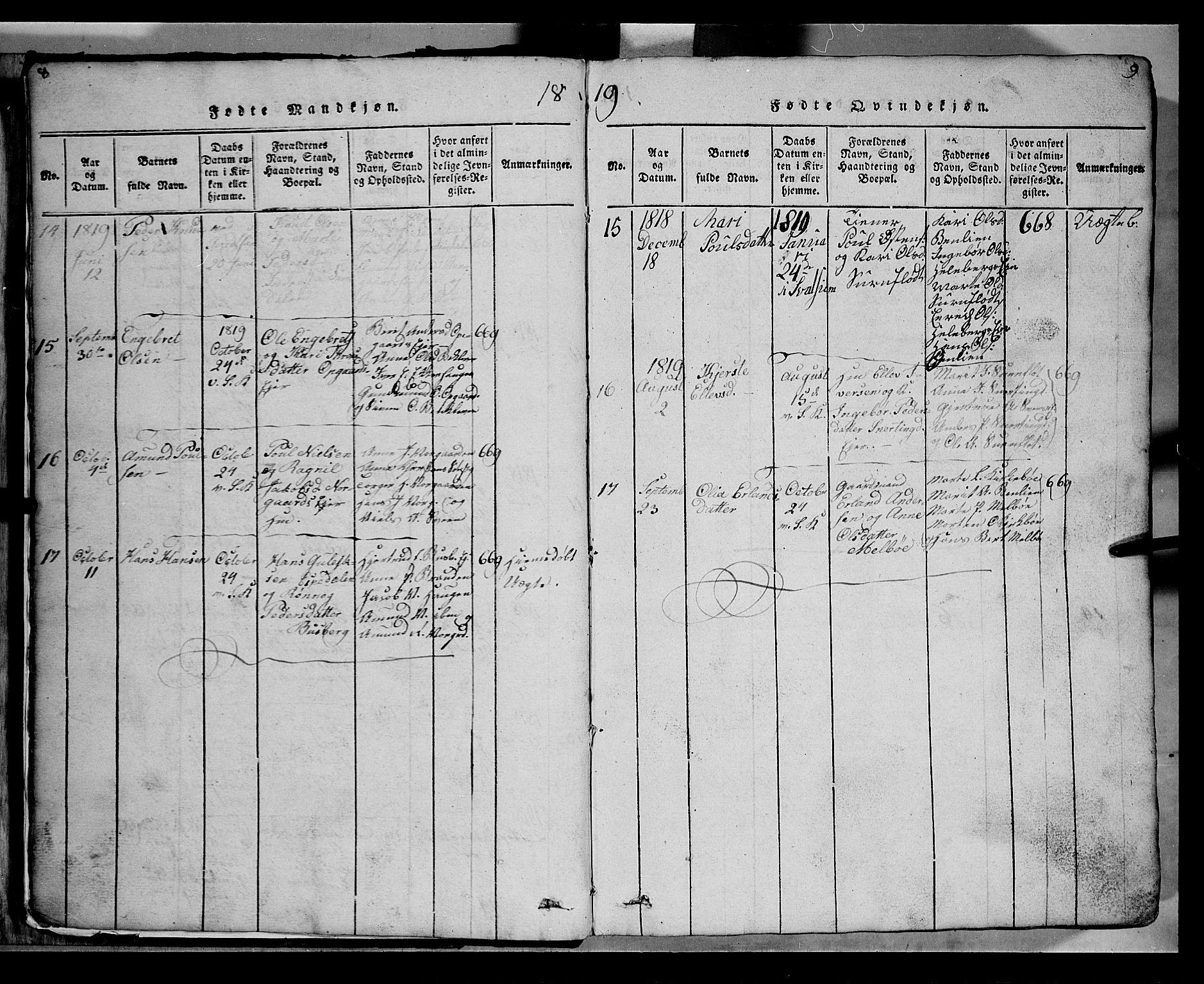 SAH, Gausdal prestekontor, Klokkerbok nr. 2, 1818-1874, s. 8-9