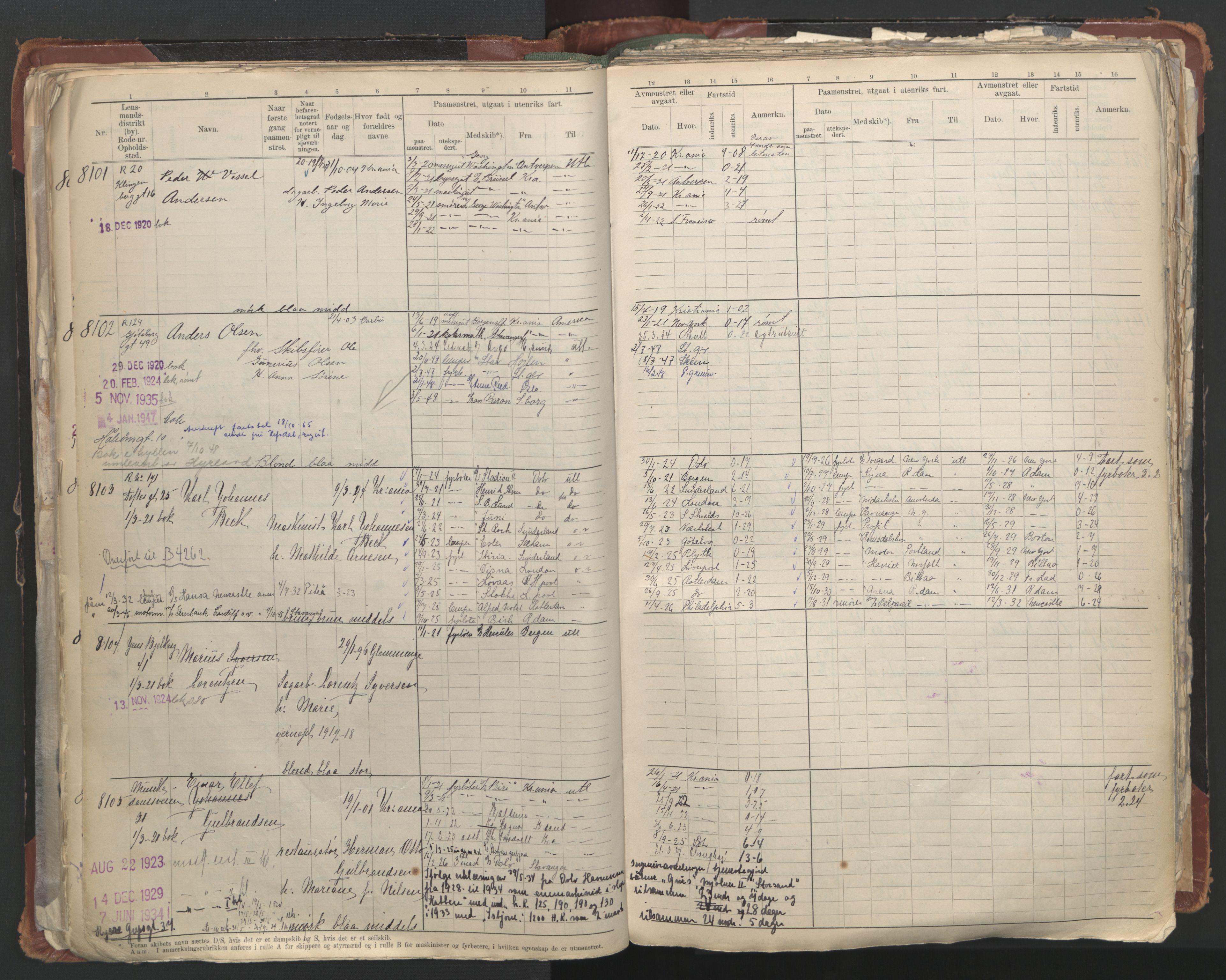 SAO, Oslo sjømannskontor, F/Fc/L0006: Hovedrulle, 1918-1930, s. 110