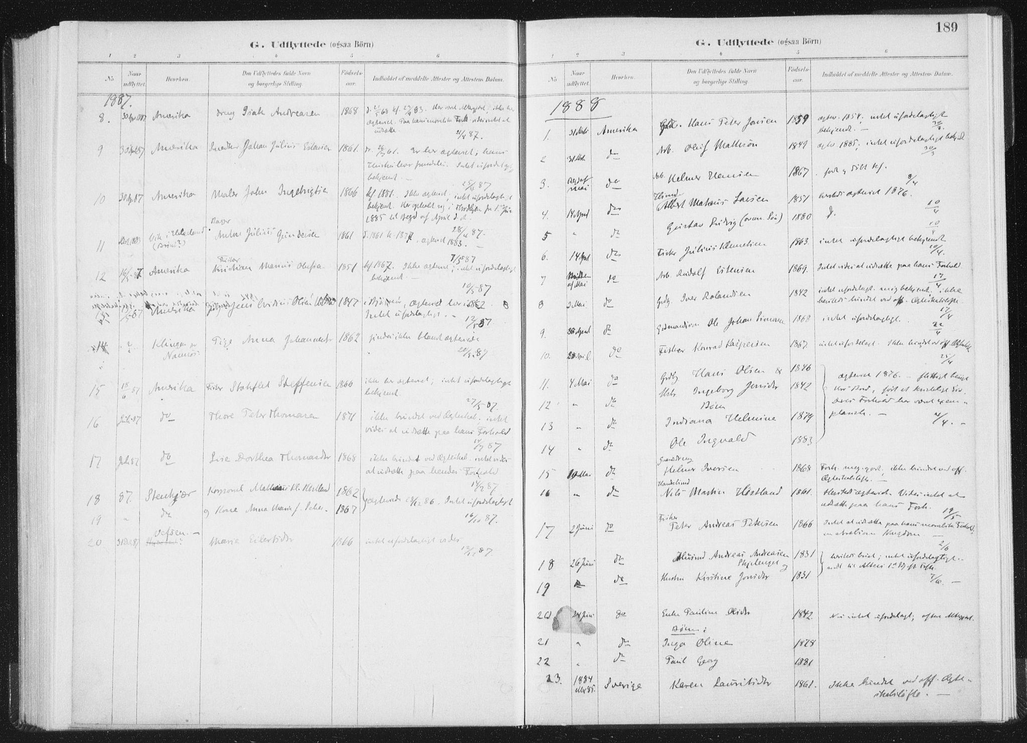 SAT, Ministerialprotokoller, klokkerbøker og fødselsregistre - Nord-Trøndelag, 771/L0597: Ministerialbok nr. 771A04, 1885-1910, s. 189