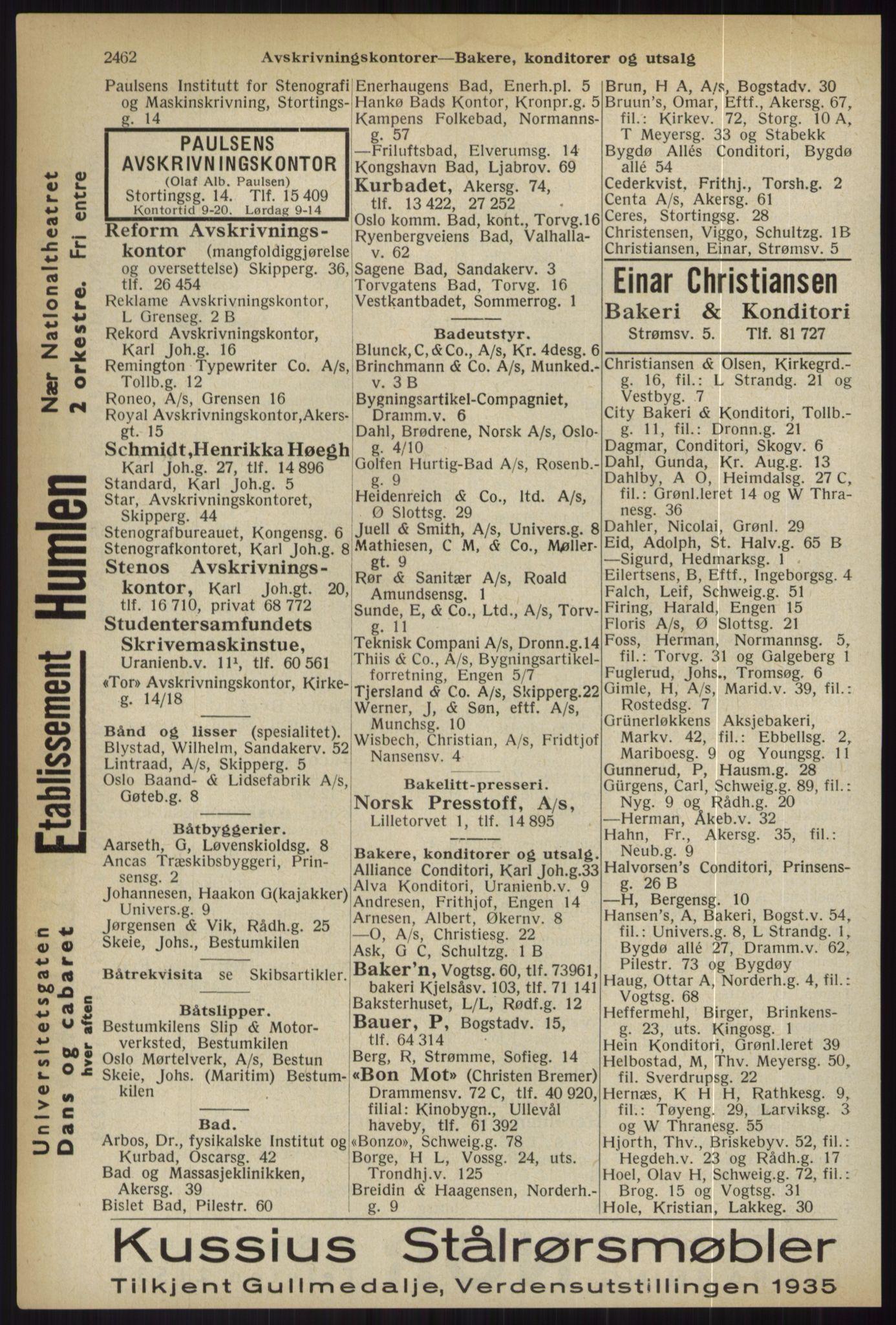 RA, Oslo adressebok (publikasjon)*, 1936, s. 2462