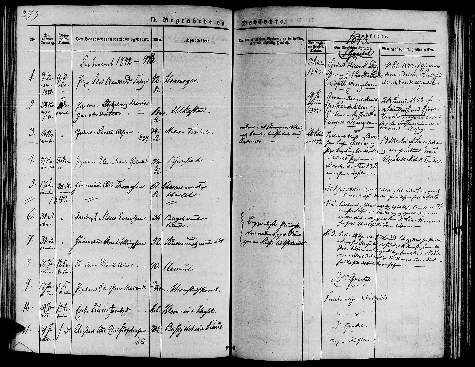 SAT, Ministerialprotokoller, klokkerbøker og fødselsregistre - Sør-Trøndelag, 646/L0610: Ministerialbok nr. 646A08, 1837-1847, s. 279