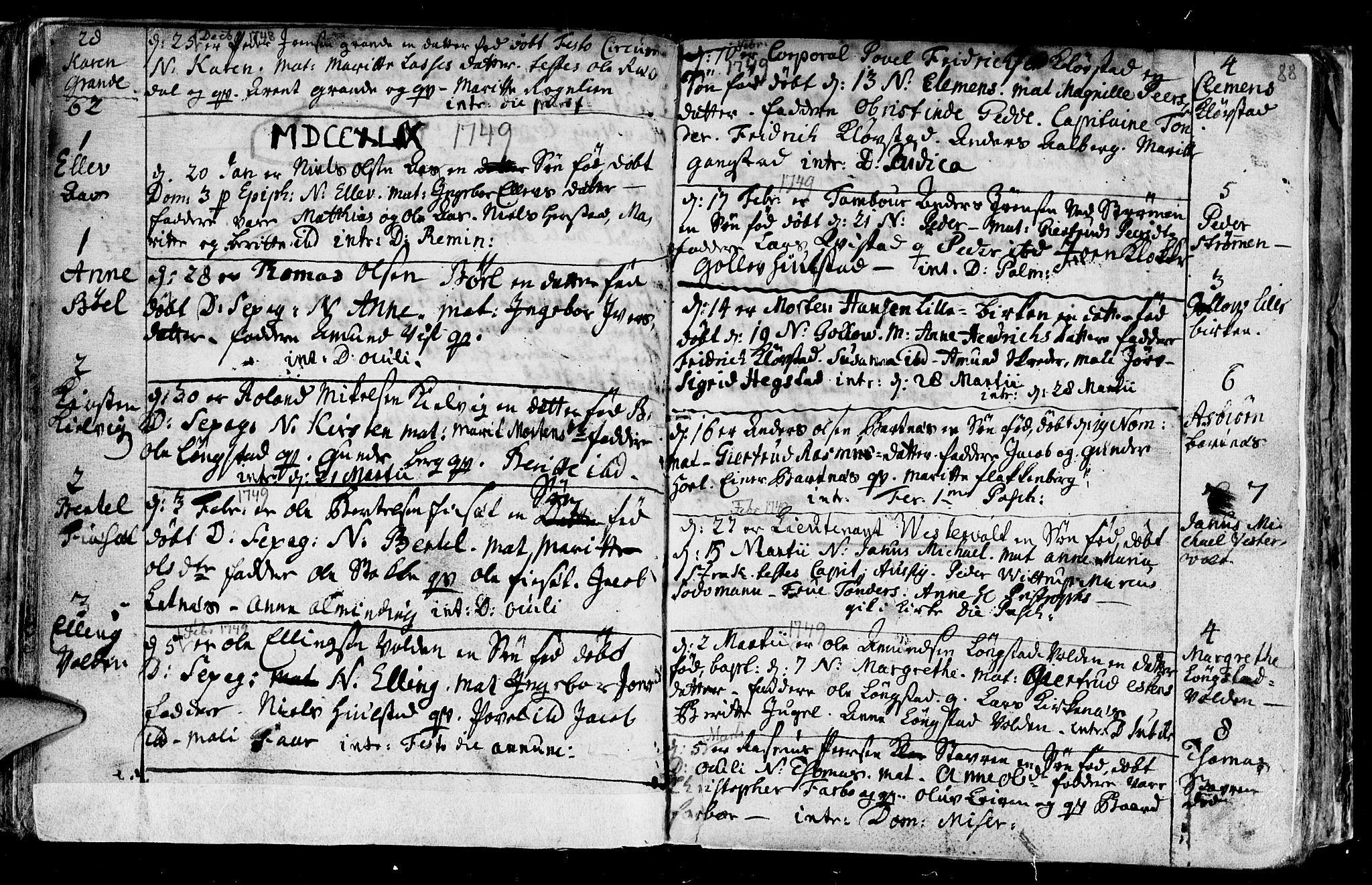 SAT, Ministerialprotokoller, klokkerbøker og fødselsregistre - Nord-Trøndelag, 730/L0272: Ministerialbok nr. 730A01, 1733-1764, s. 88