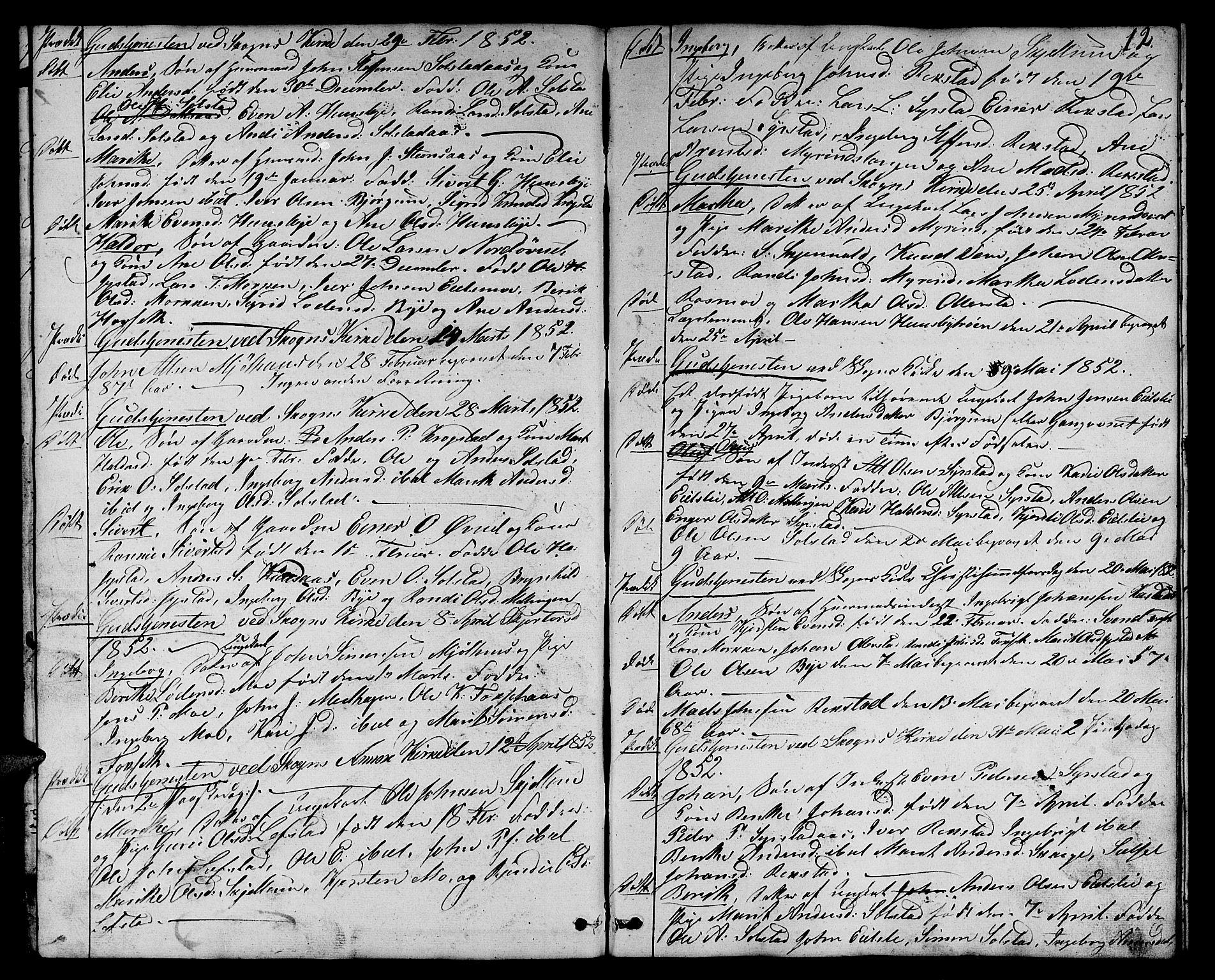 SAT, Ministerialprotokoller, klokkerbøker og fødselsregistre - Sør-Trøndelag, 667/L0797: Klokkerbok nr. 667C02, 1849-1867, s. 12