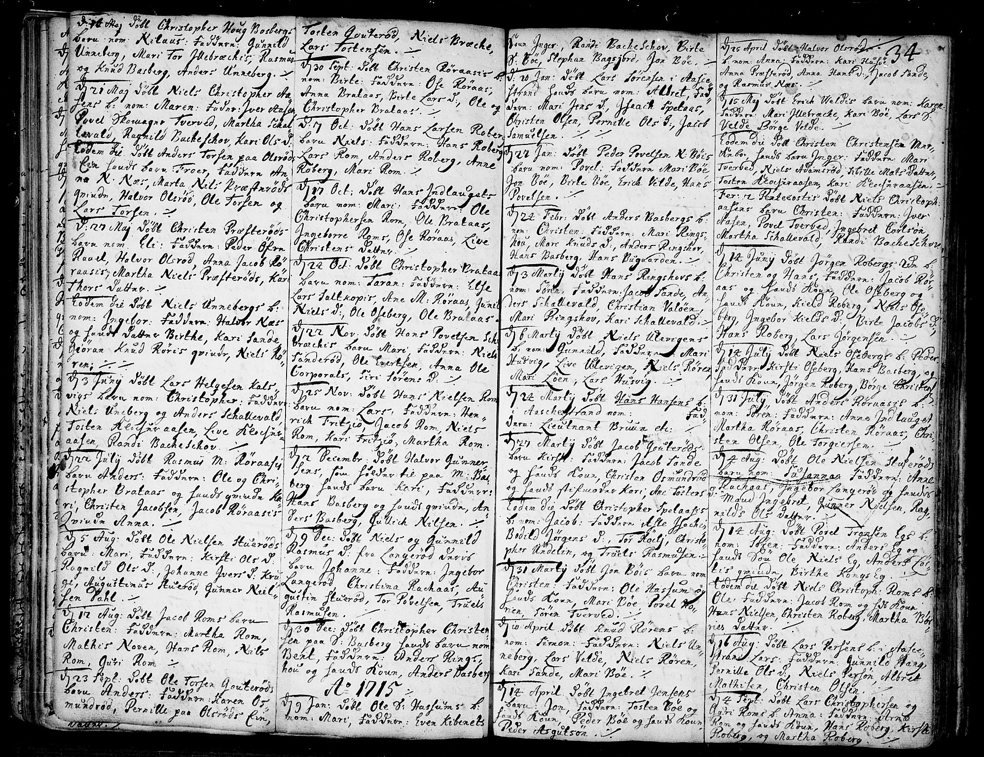 SAKO, Sem kirkebøker, F/Fb/L0001: Ministerialbok nr. II 1, 1702-1764, s. 34