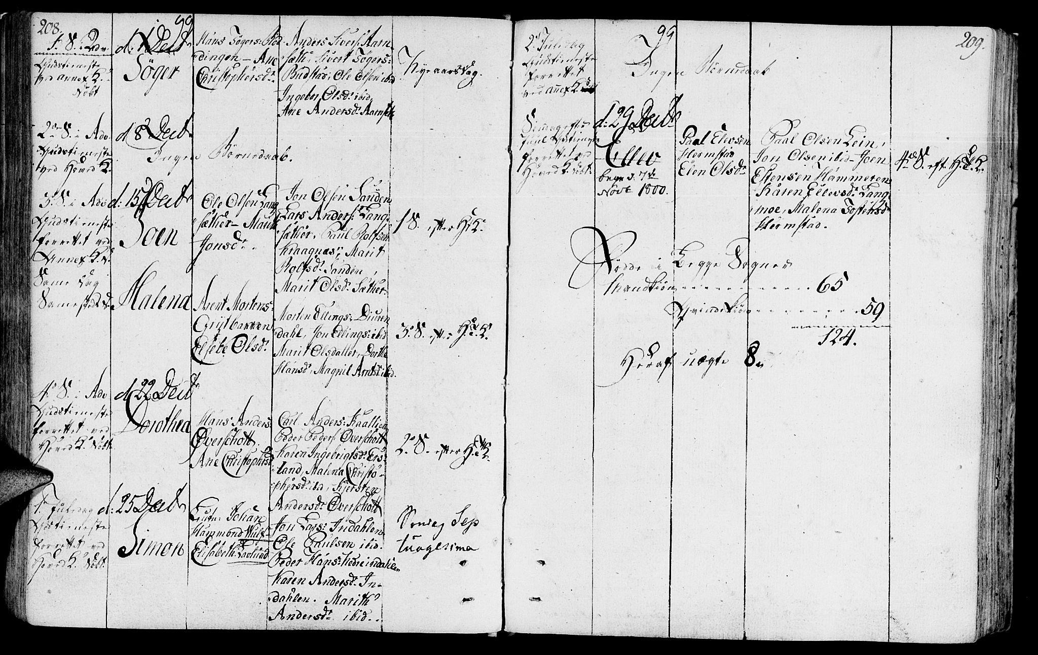 SAT, Ministerialprotokoller, klokkerbøker og fødselsregistre - Sør-Trøndelag, 646/L0606: Ministerialbok nr. 646A04, 1791-1805, s. 208-209