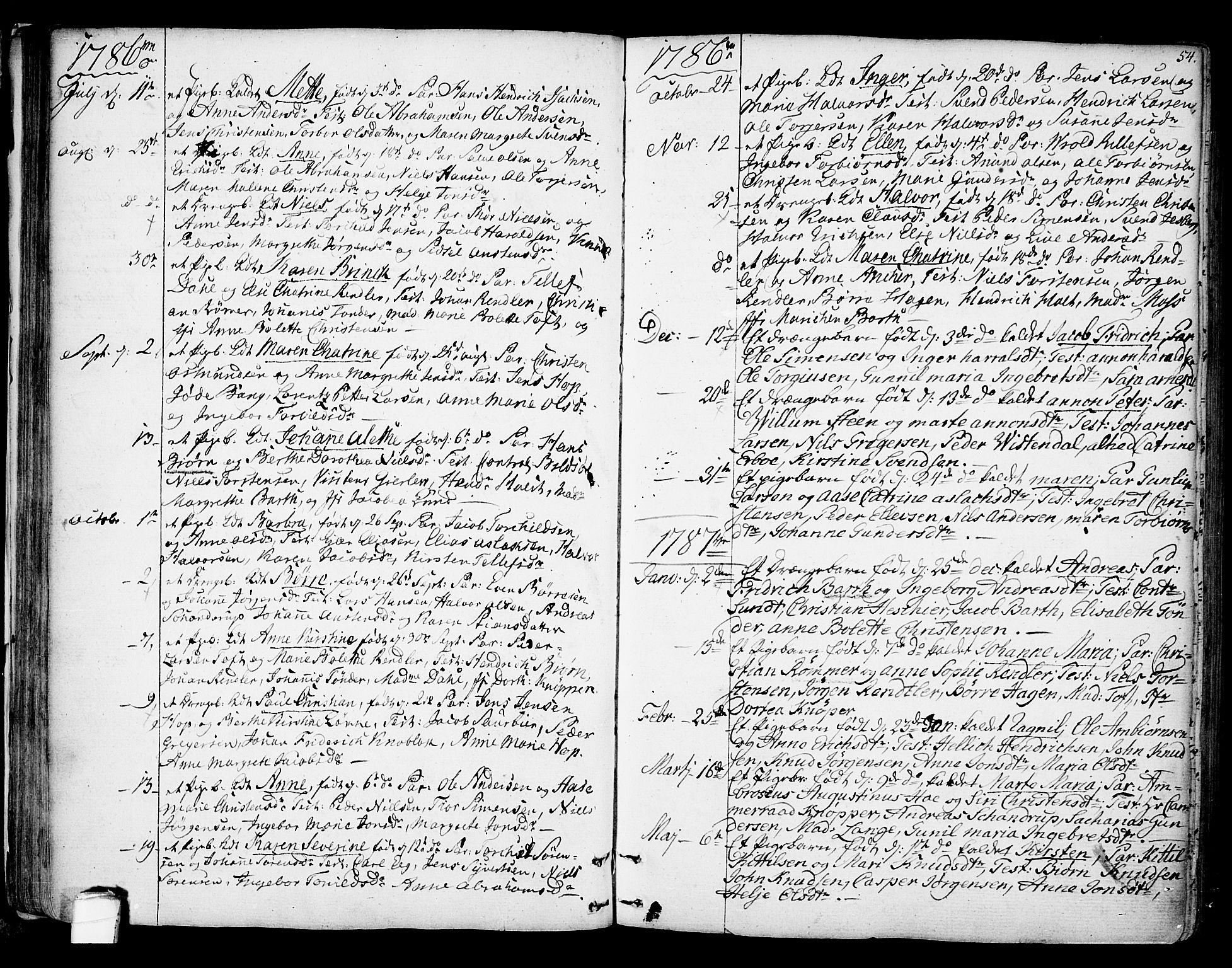 SAKO, Kragerø kirkebøker, F/Fa/L0002: Ministerialbok nr. 2, 1767-1802, s. 54