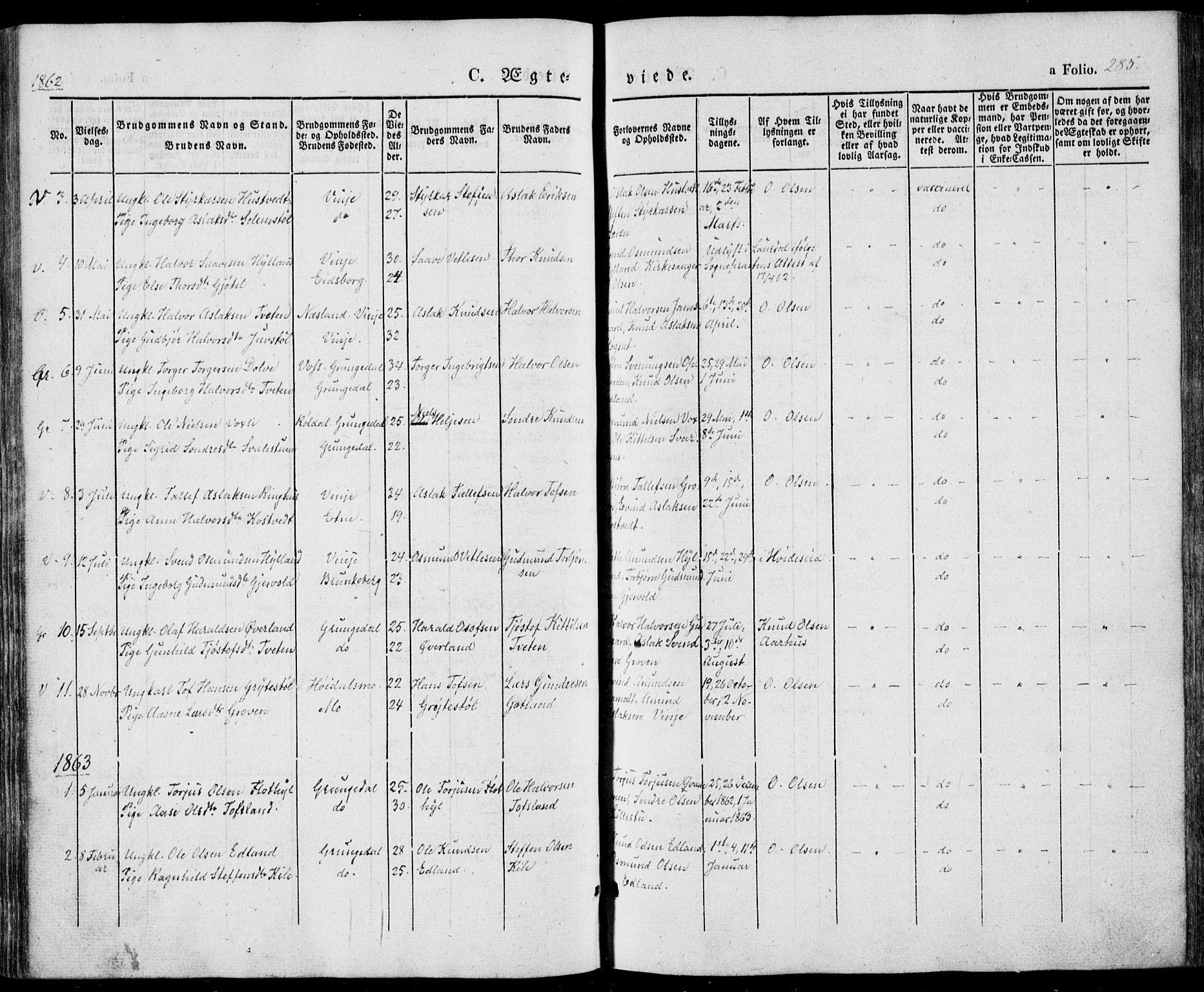 SAKO, Vinje kirkebøker, F/Fa/L0004: Ministerialbok nr. I 4, 1843-1869, s. 285