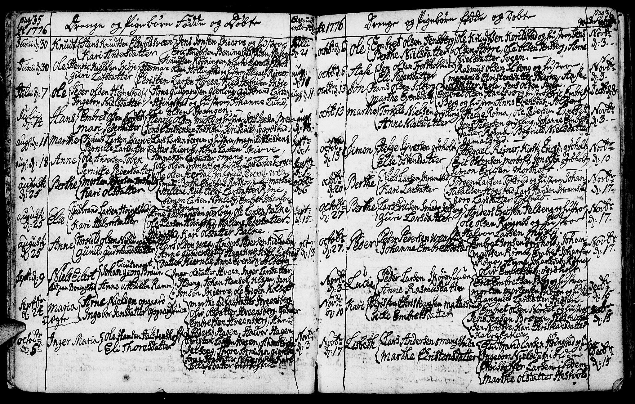 SAH, Løten prestekontor, K/Ka/L0003: Ministerialbok nr. 3, 1773-1800, s. 35-36