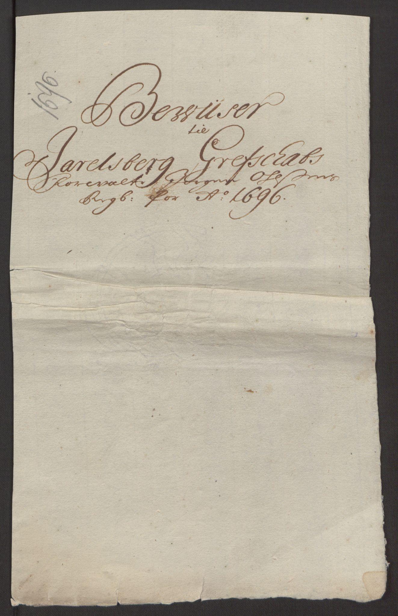 RA, Rentekammeret inntil 1814, Reviderte regnskaper, Fogderegnskap, R32/L1867: Fogderegnskap Jarlsberg grevskap, 1694-1696, s. 310