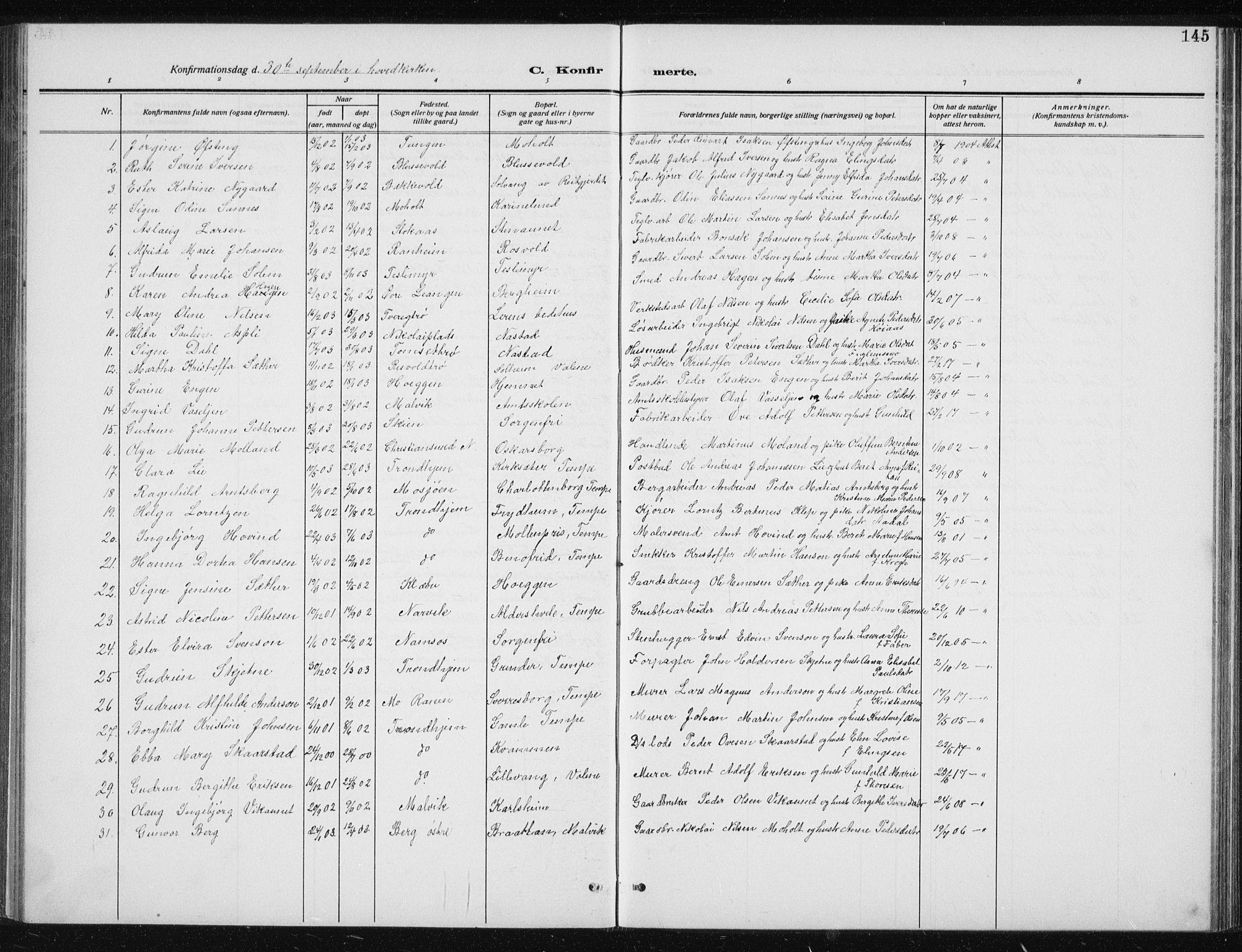 SAT, Ministerialprotokoller, klokkerbøker og fødselsregistre - Sør-Trøndelag, 606/L0314: Klokkerbok nr. 606C10, 1911-1937, s. 145