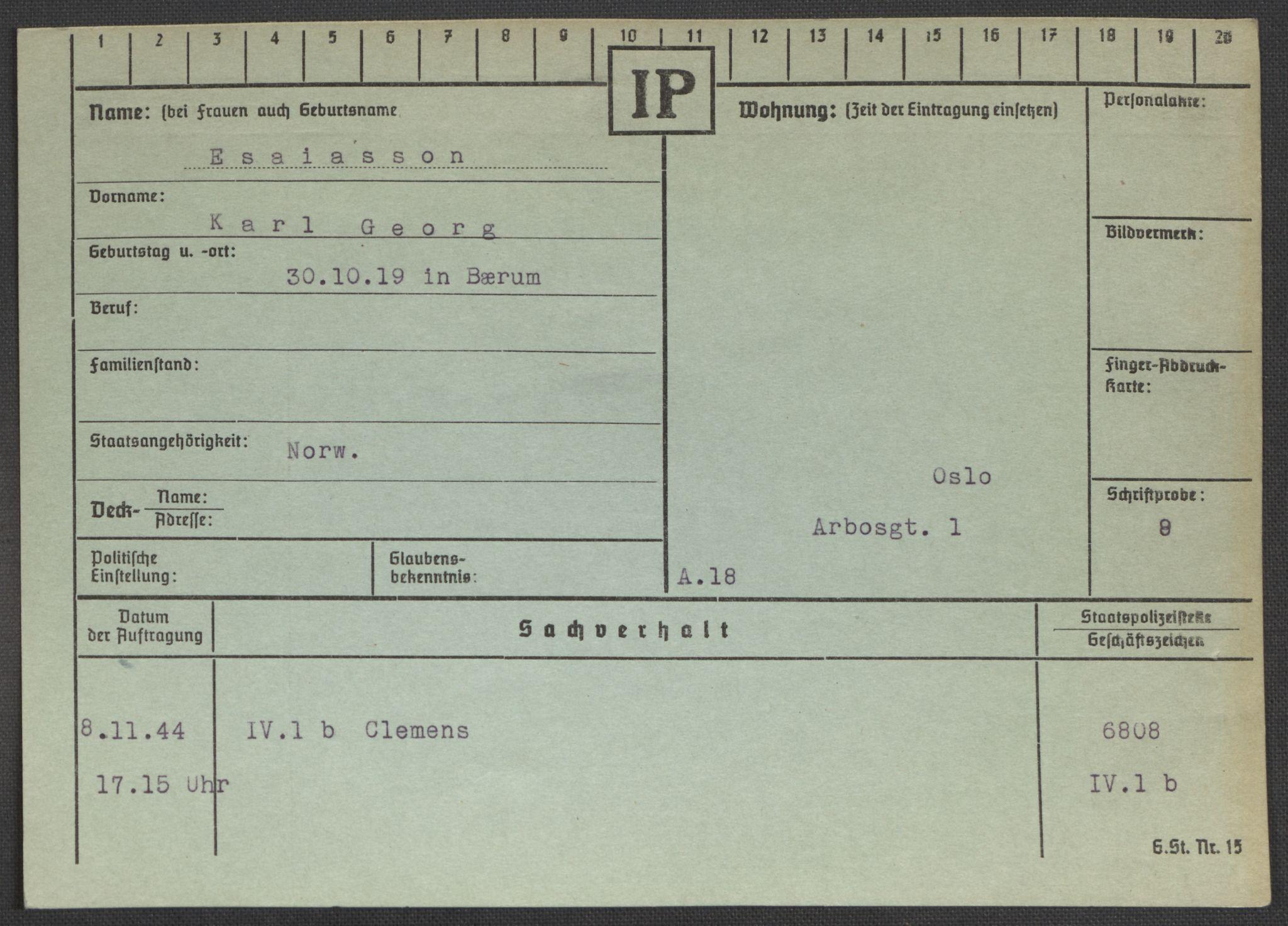 RA, Befehlshaber der Sicherheitspolizei und des SD, E/Ea/Eaa/L0003: Register over norske fanger i Møllergata 19: Eng-Hag, 1940-1945, s. 156