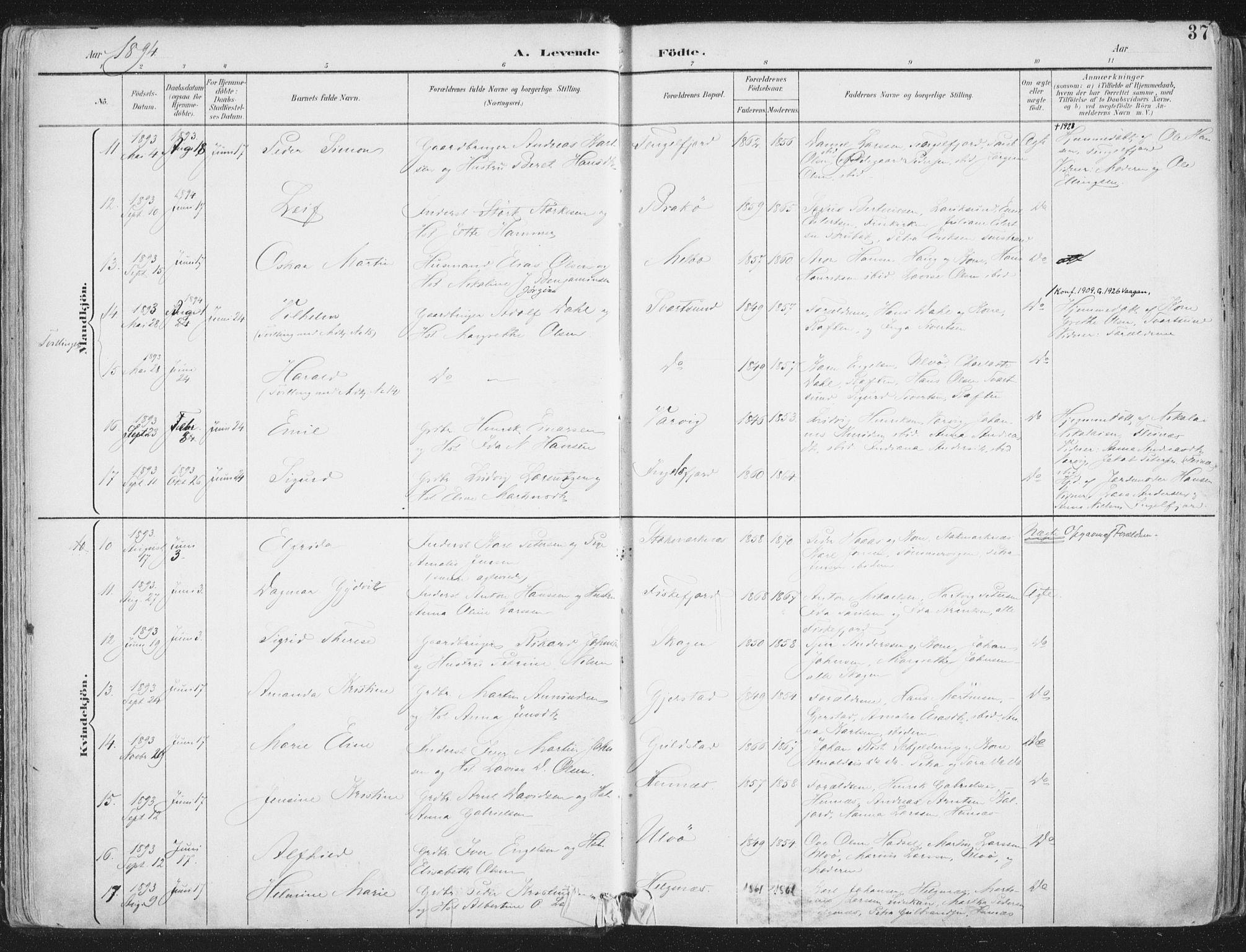 SAT, Ministerialprotokoller, klokkerbøker og fødselsregistre - Nordland, 888/L1246: Ministerialbok nr. 888A12, 1891-1903, s. 37