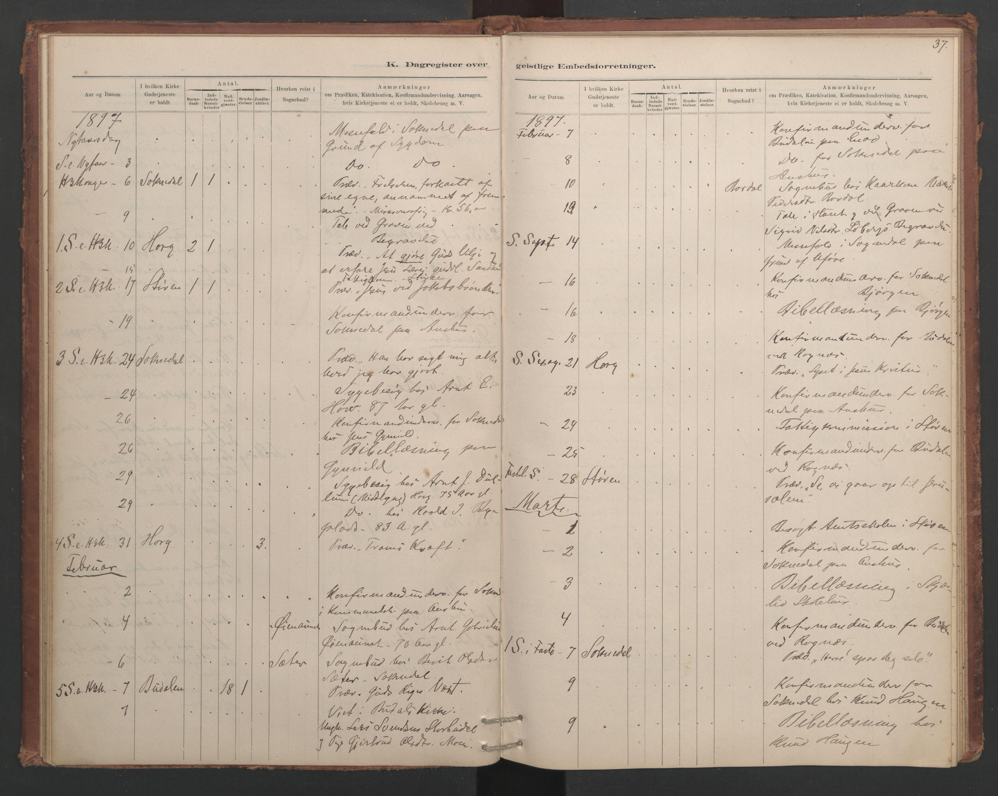 SAT, Ministerialprotokoller, klokkerbøker og fødselsregistre - Sør-Trøndelag, 687/L1012: Dagregister nr. 687B01, 1887-1914, s. 37
