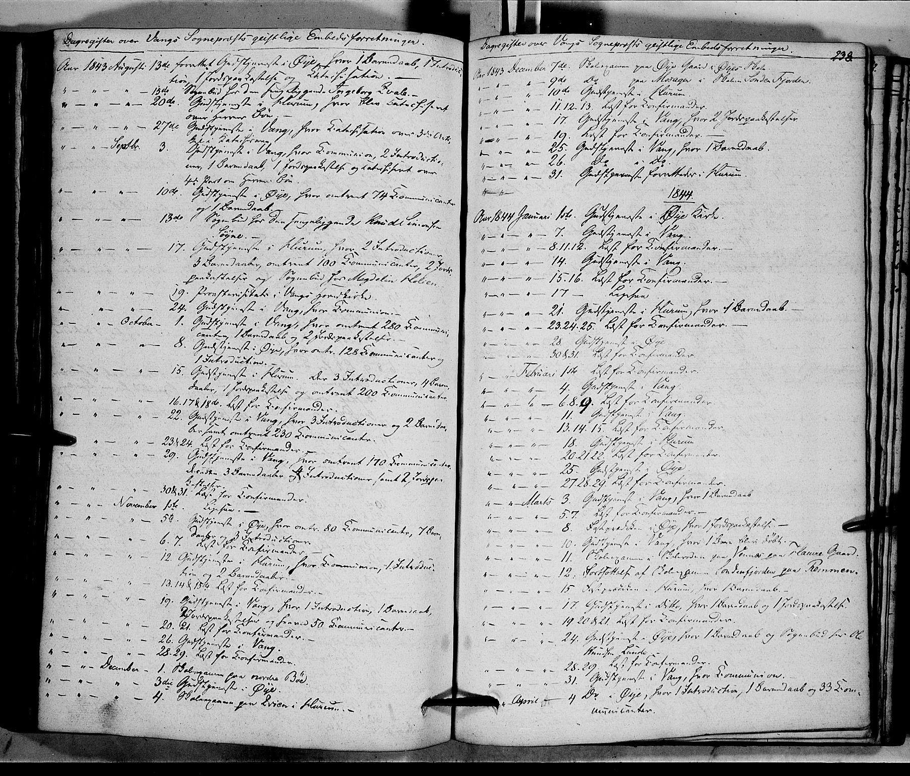 SAH, Vang prestekontor, Valdres, Ministerialbok nr. 5, 1831-1845, s. 238