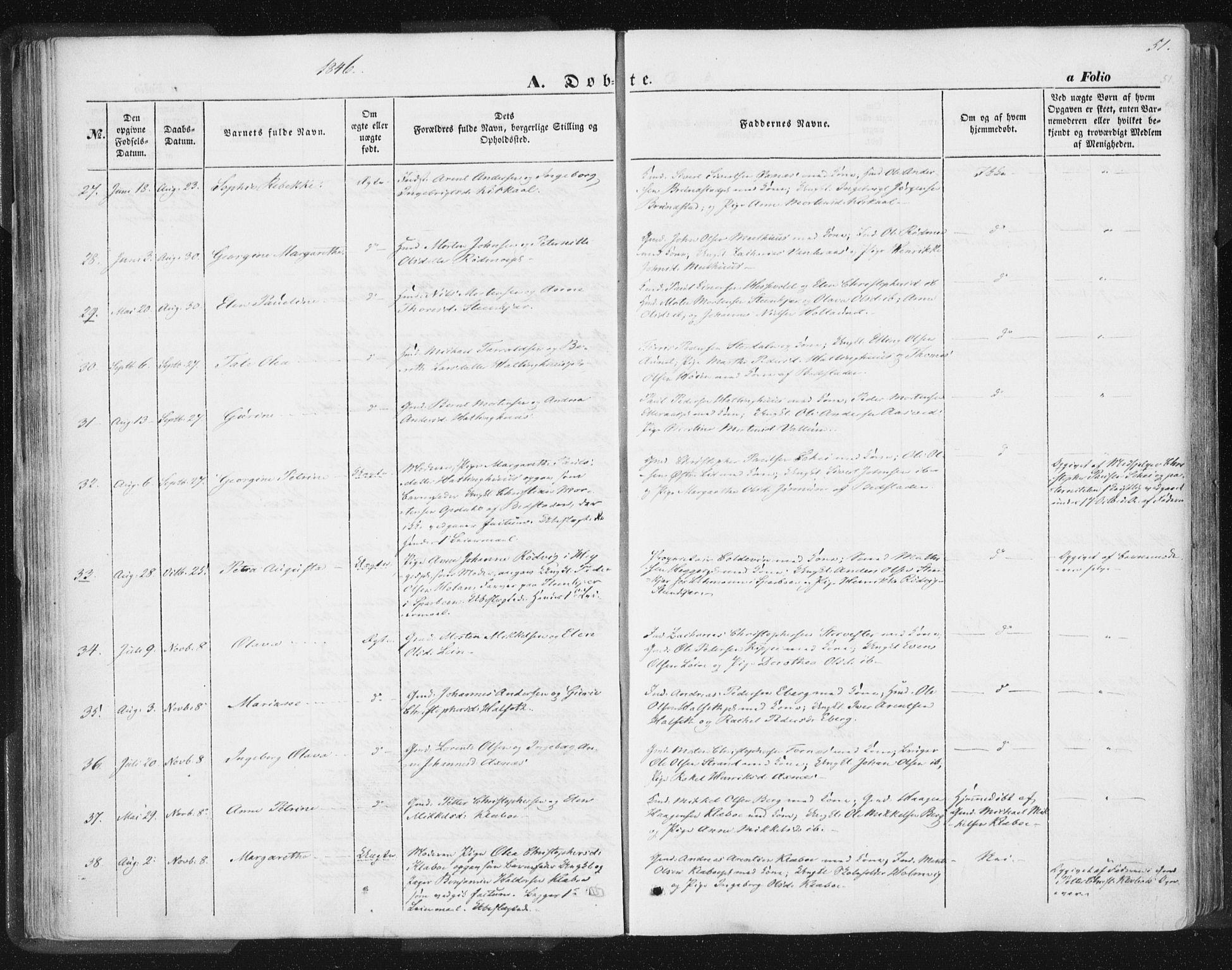 SAT, Ministerialprotokoller, klokkerbøker og fødselsregistre - Nord-Trøndelag, 746/L0446: Ministerialbok nr. 746A05, 1846-1859, s. 51