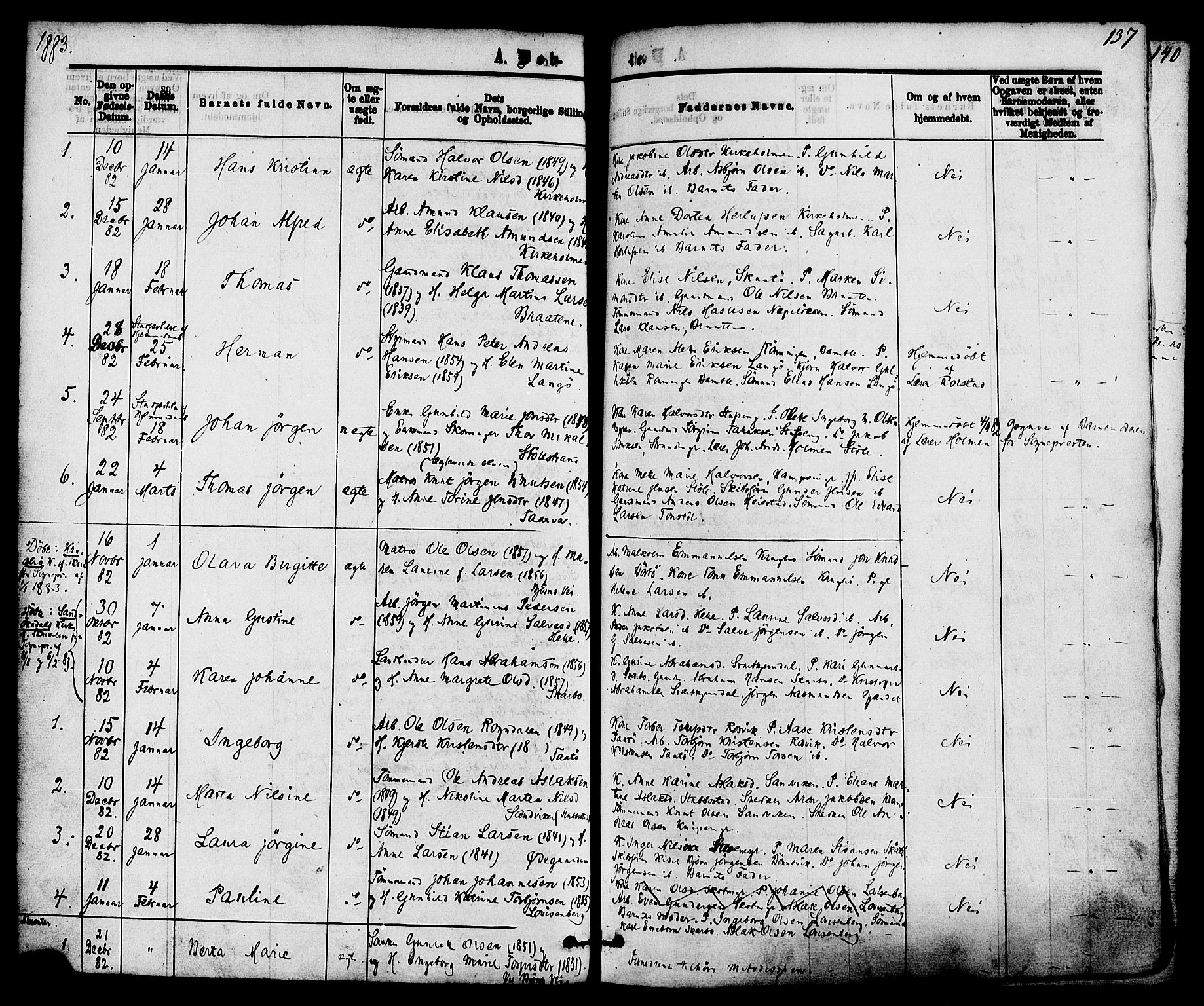 SAKO, Skåtøy kirkebøker, F/Fa/L0001: Ministerialbok nr. I 1, 1874-1883, s. 137