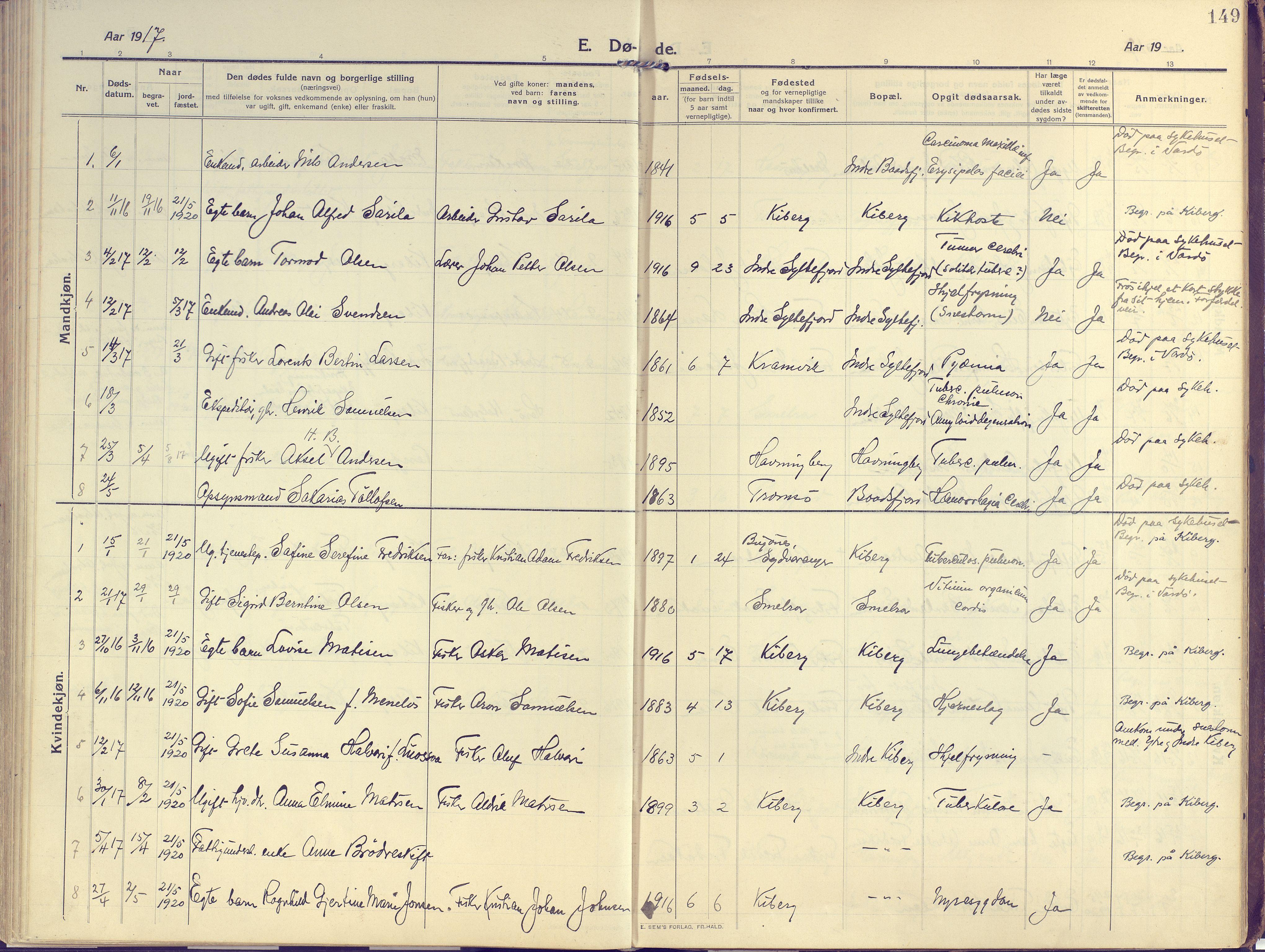 SATØ, Vardø sokneprestkontor, H/Ha/L0013kirke: Ministerialbok nr. 13, 1912-1928, s. 149