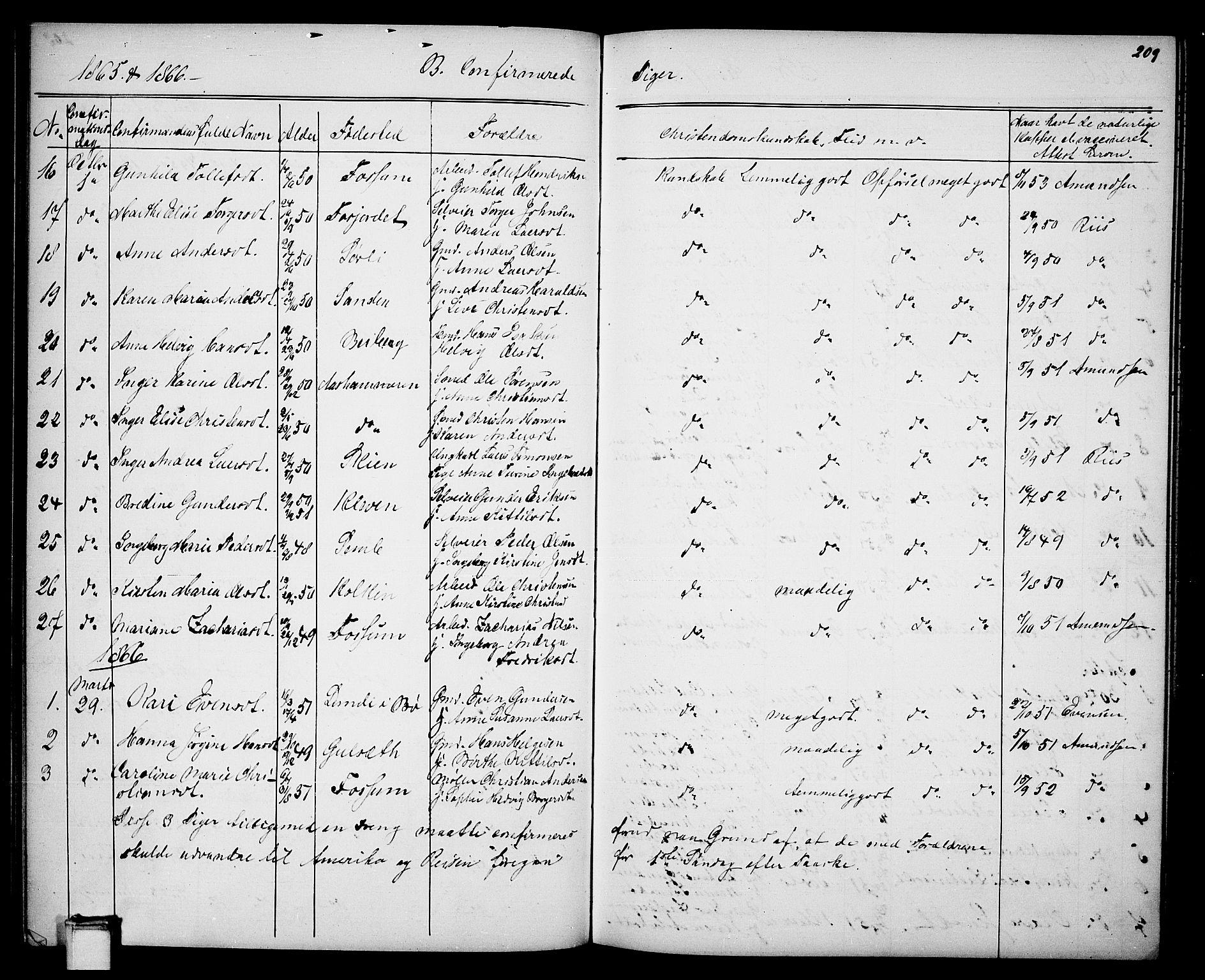 SAKO, Gjerpen kirkebøker, G/Ga/L0001: Klokkerbok nr. I 1, 1864-1882, s. 209
