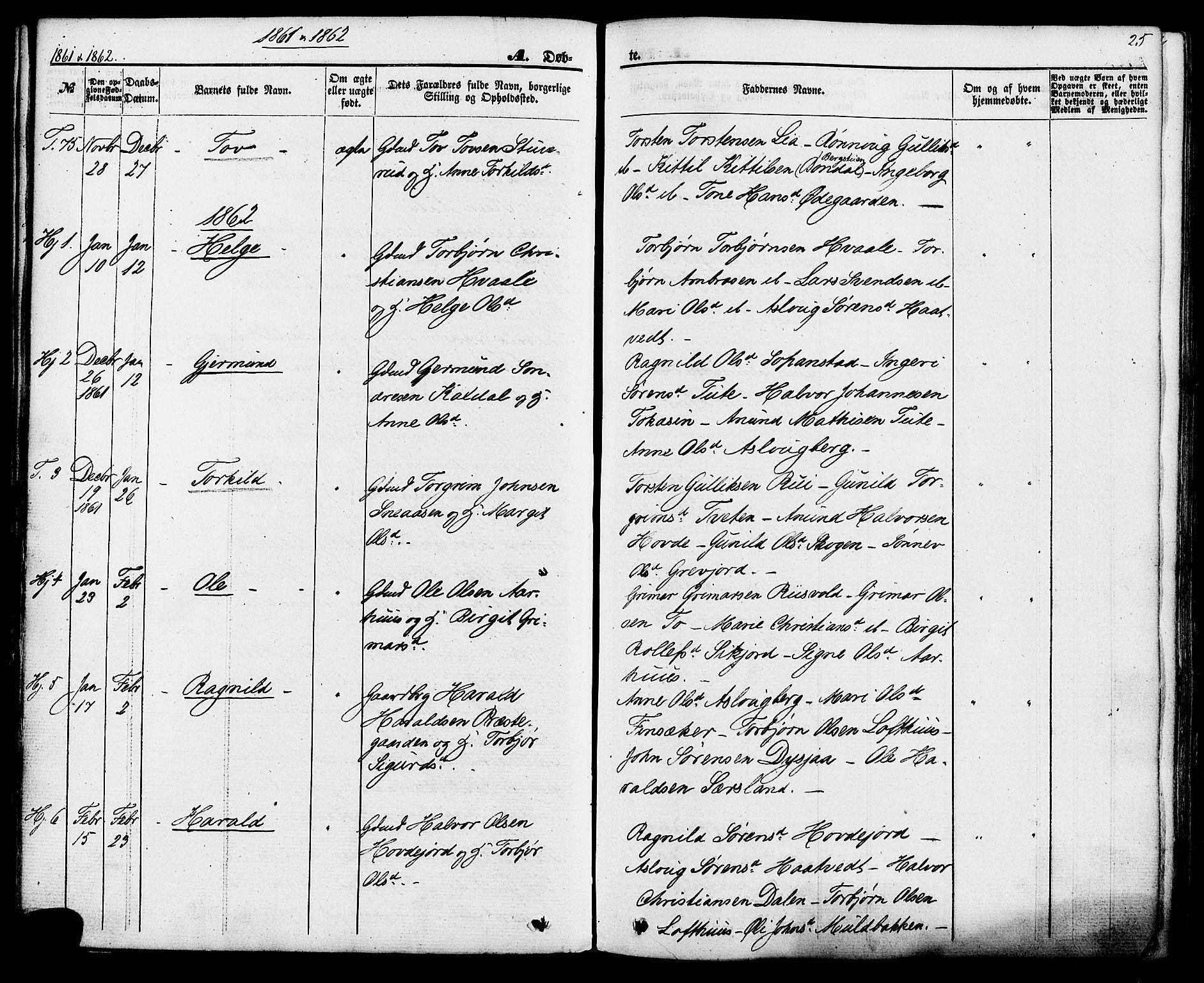 SAKO, Hjartdal kirkebøker, F/Fa/L0009: Ministerialbok nr. I 9, 1860-1879, s. 25