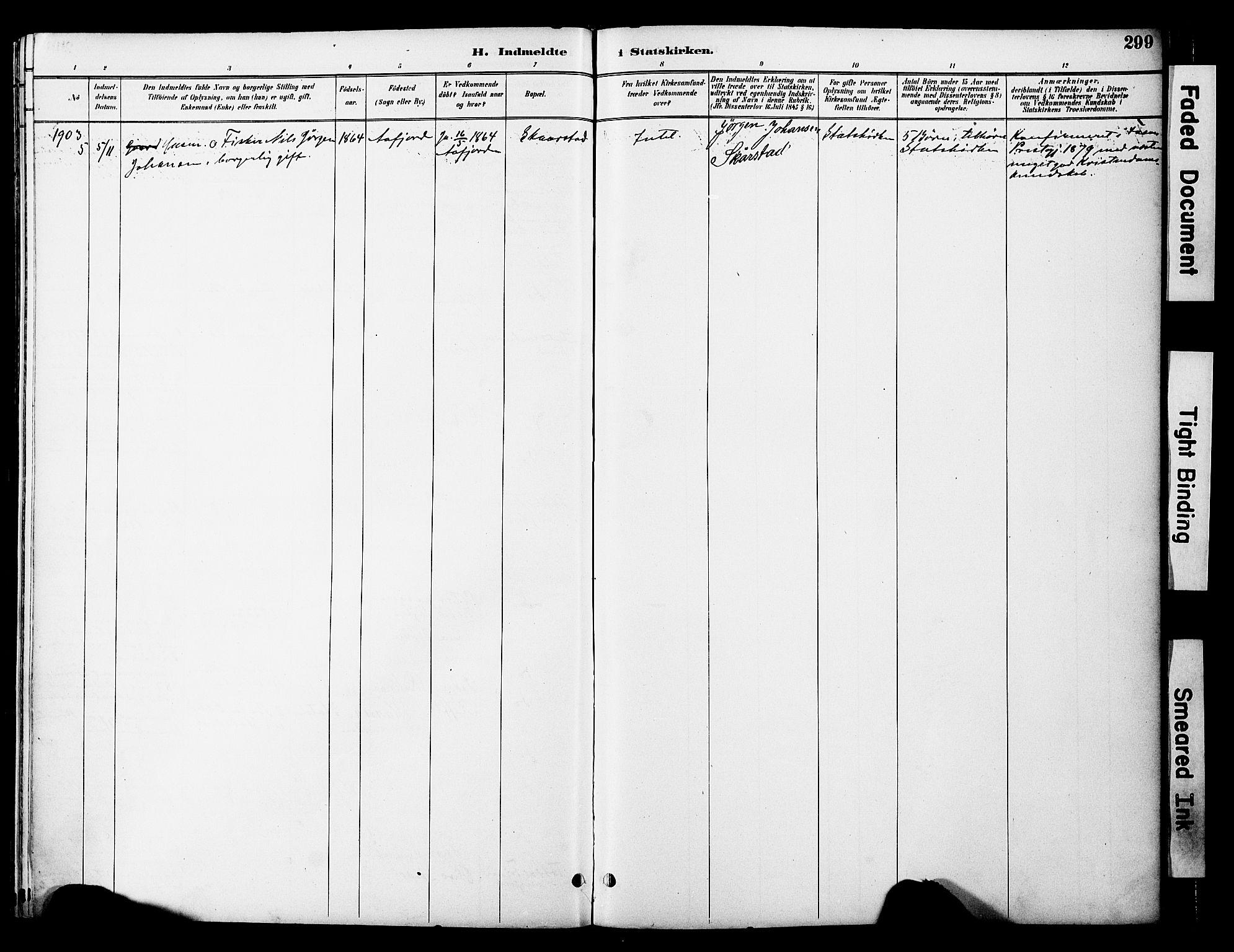 SAT, Ministerialprotokoller, klokkerbøker og fødselsregistre - Nord-Trøndelag, 774/L0628: Ministerialbok nr. 774A02, 1887-1903, s. 299