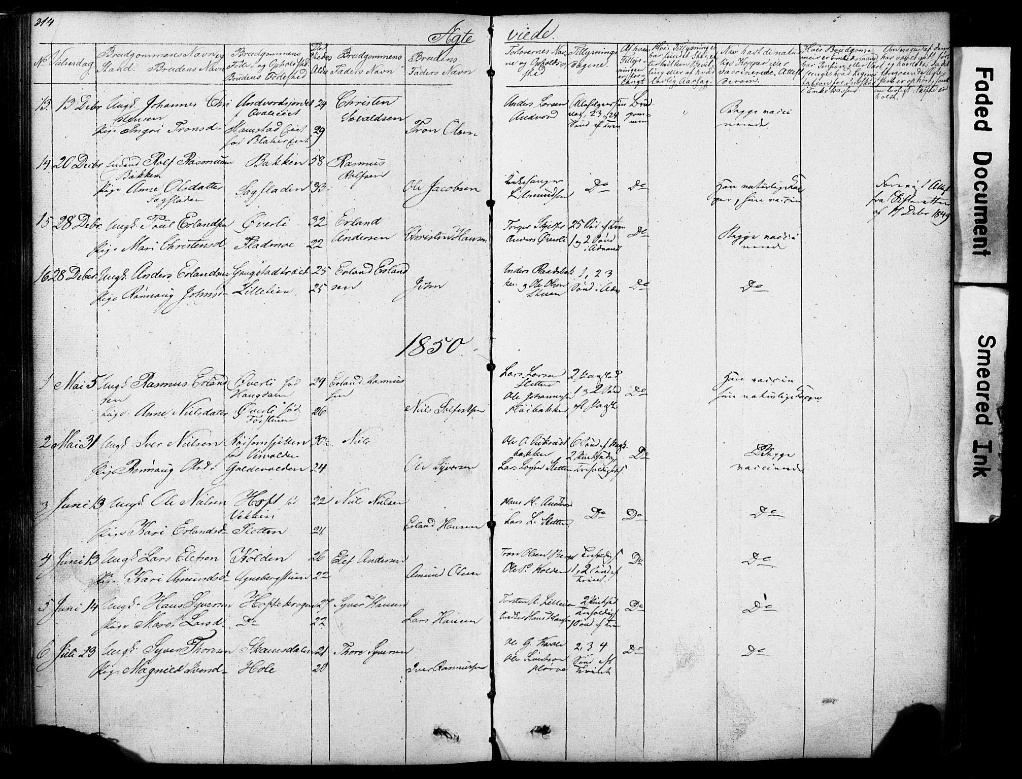SAH, Lom prestekontor, L/L0012: Klokkerbok nr. 12, 1845-1873, s. 314-315
