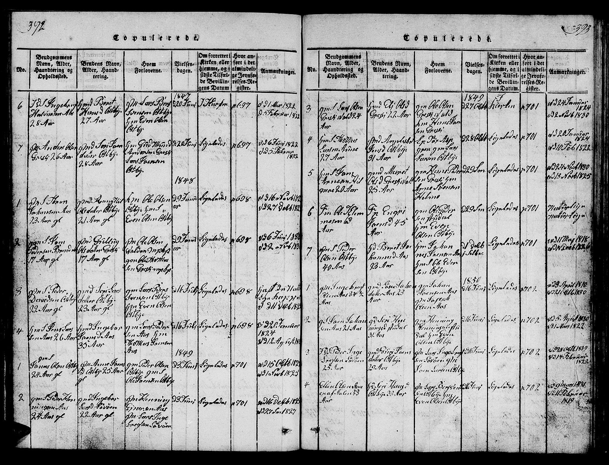 SAT, Ministerialprotokoller, klokkerbøker og fødselsregistre - Sør-Trøndelag, 698/L1164: Klokkerbok nr. 698C01, 1816-1861, s. 392-393