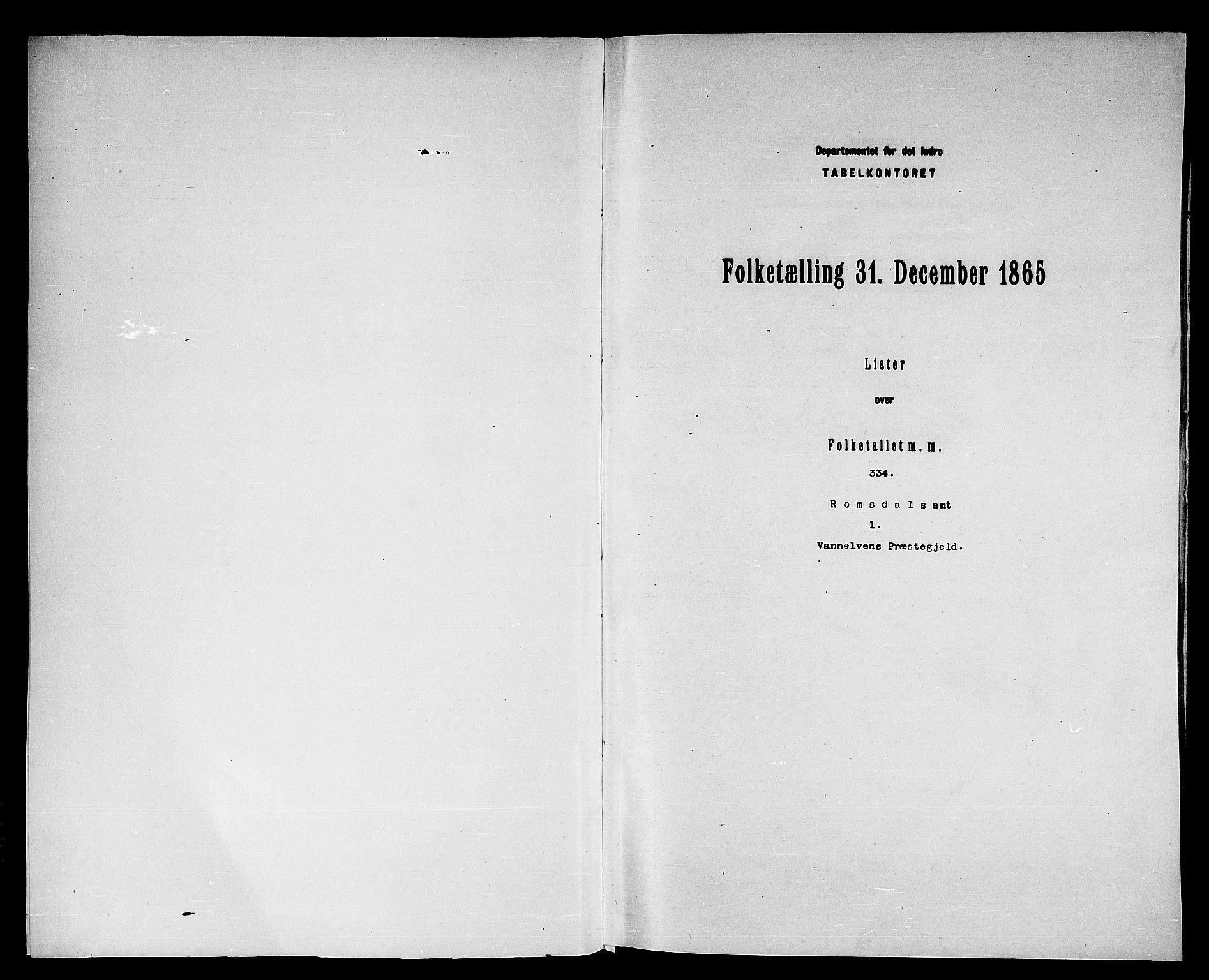 RA, Folketelling 1865 for 1511P Vanylven prestegjeld, 1865, s. 3