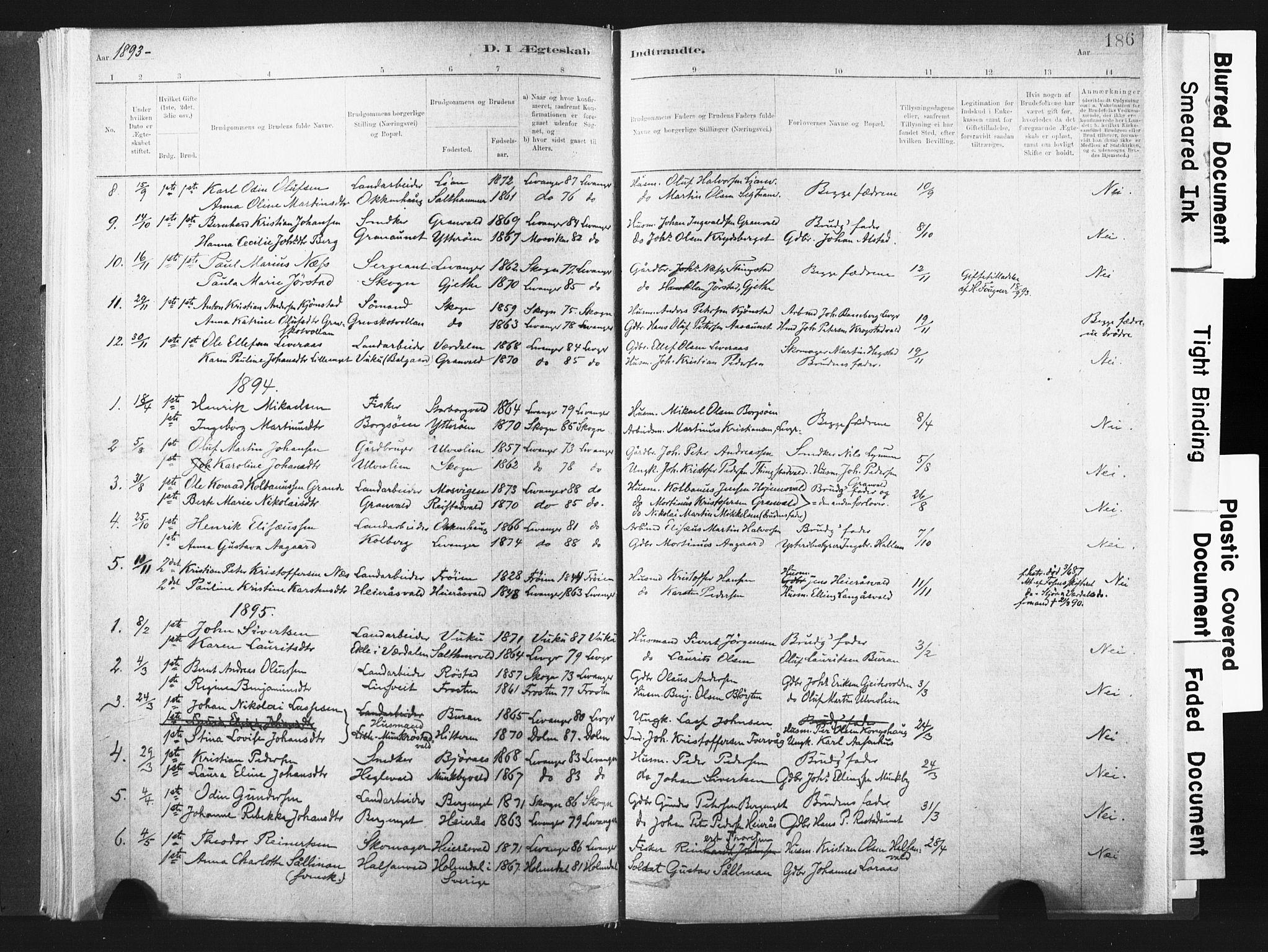 SAT, Ministerialprotokoller, klokkerbøker og fødselsregistre - Nord-Trøndelag, 721/L0207: Ministerialbok nr. 721A02, 1880-1911, s. 186