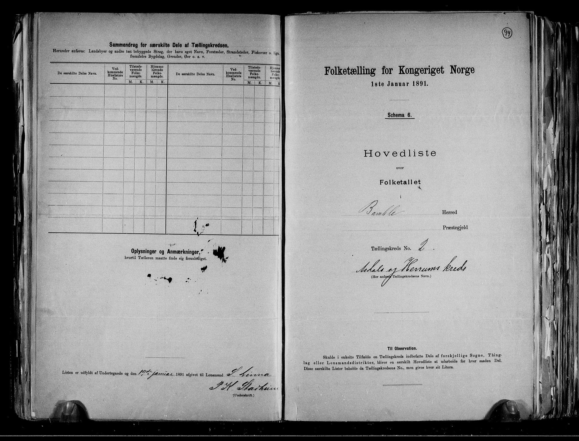 RA, Folketelling 1891 for 0814 Bamble herred, 1891, s. 10